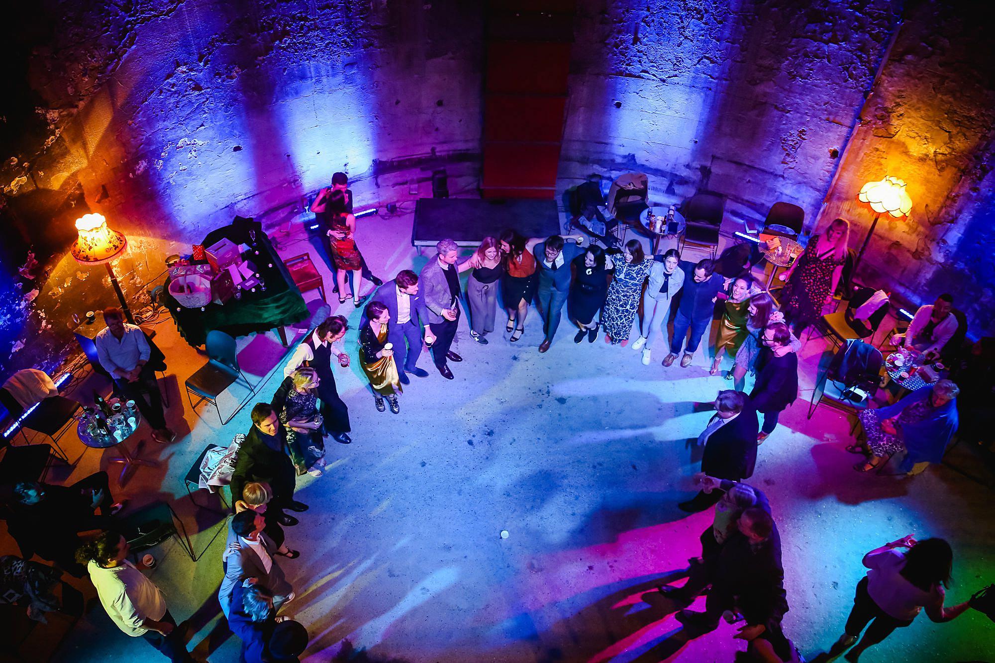 Brunel museum wedding guests dance in brunel tunnel