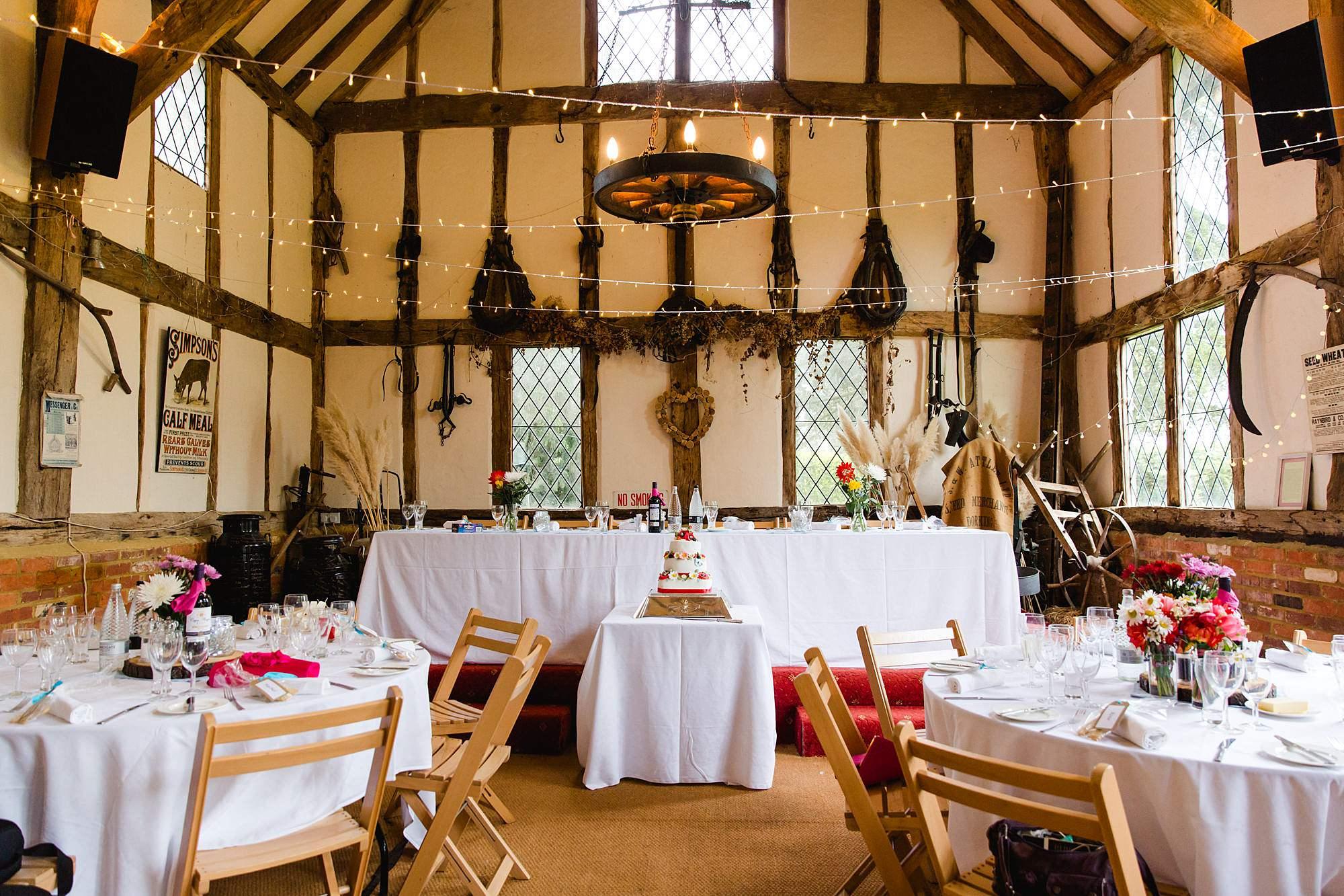 Fun DIY wedding decorations inside norwood farm barn
