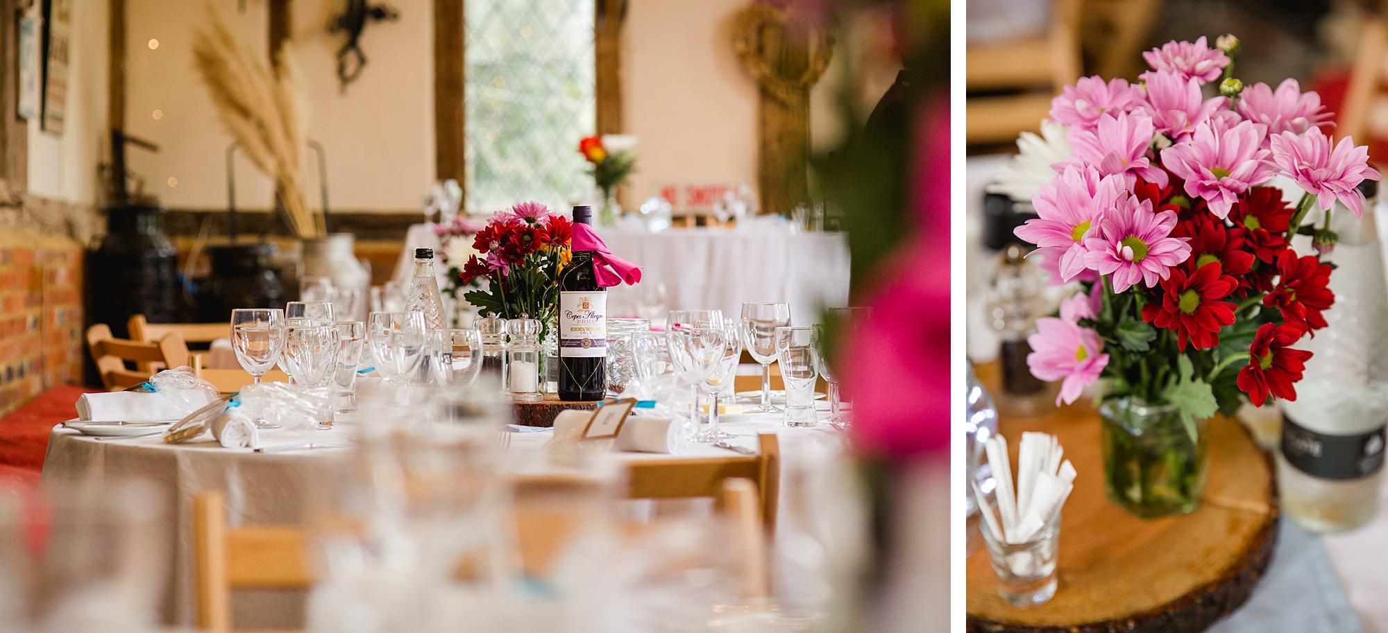 Fun DIY wedding flower table decorations in norwood farm