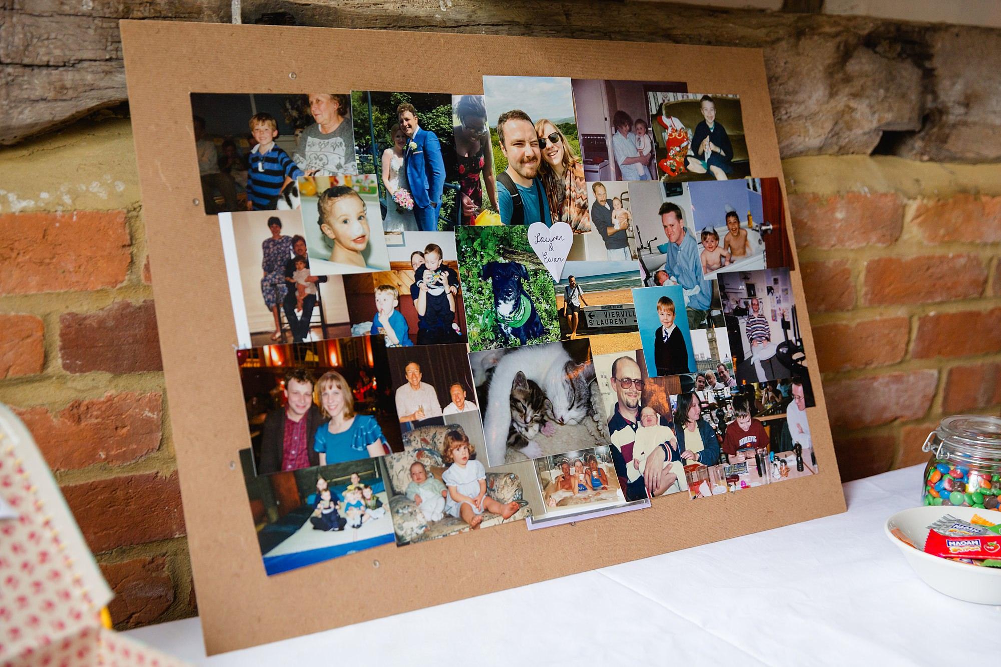 Fun DIY wedding photo board