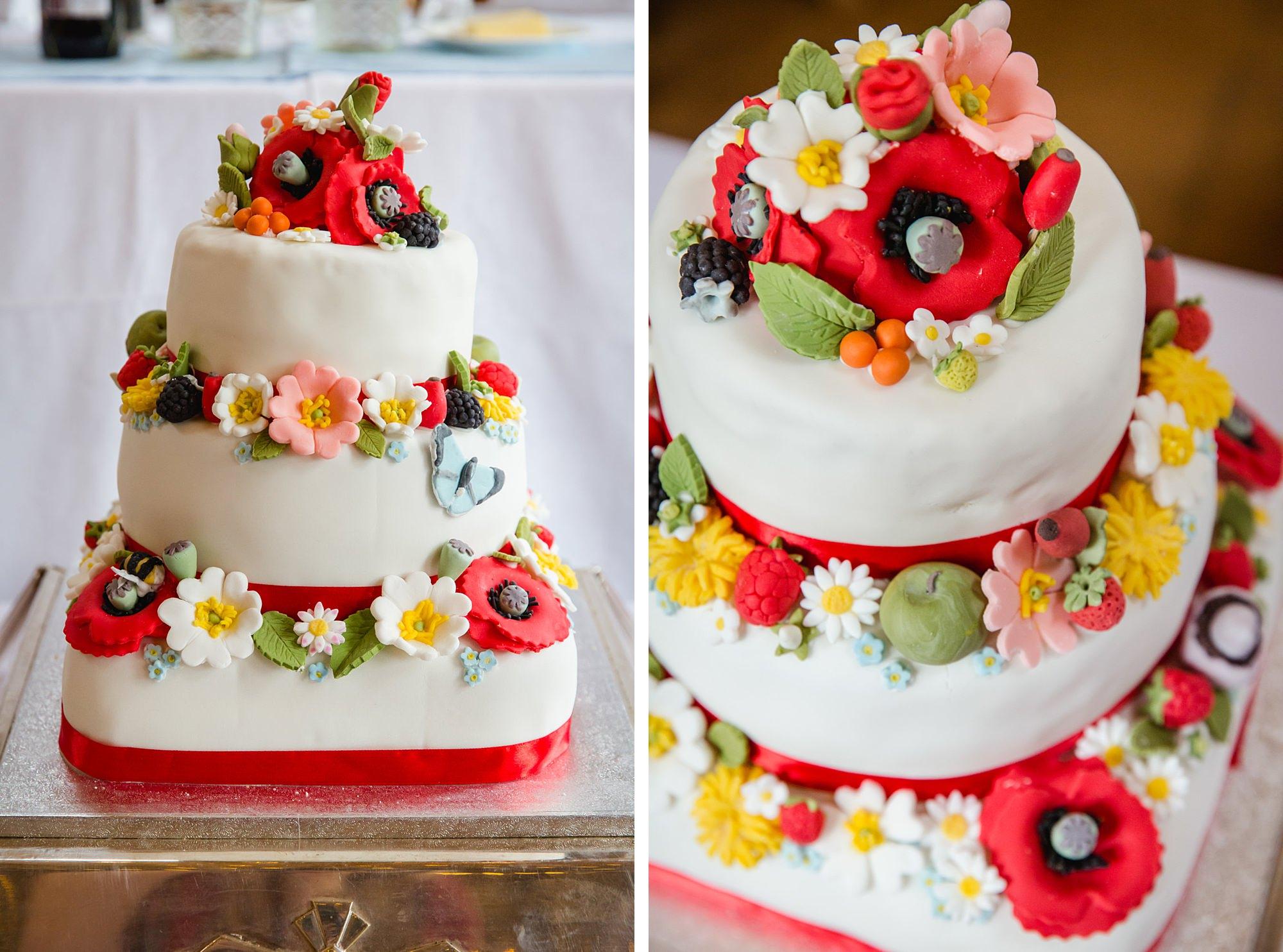 Fun DIY wedding handmade floral detail wedding cake