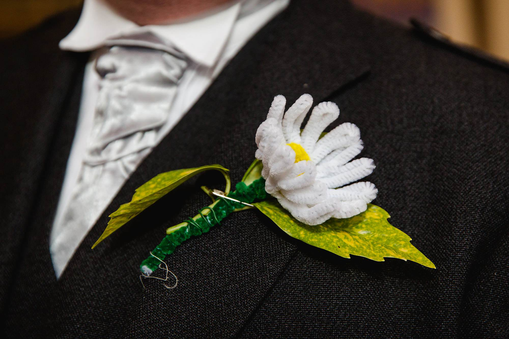 Fun DIY wedding buttonhole made form pipe cleaners