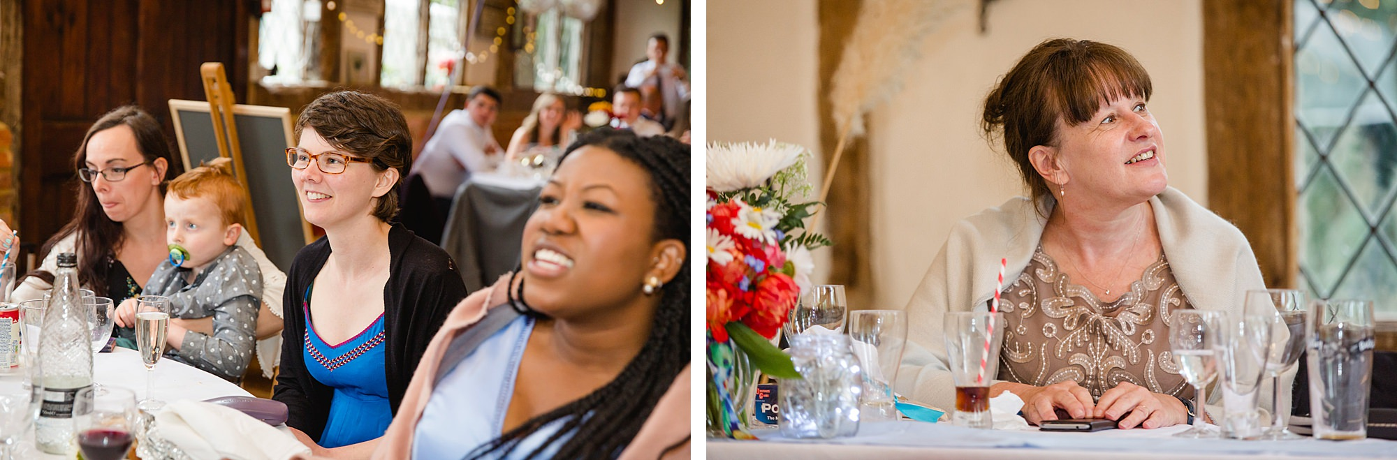 Fun DIY wedding guests listening to speeches