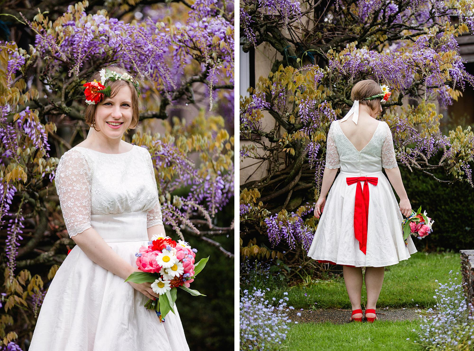 portrait of bride wearing flower crown with vintage b=dress by wisteria at Fun DIY wedding