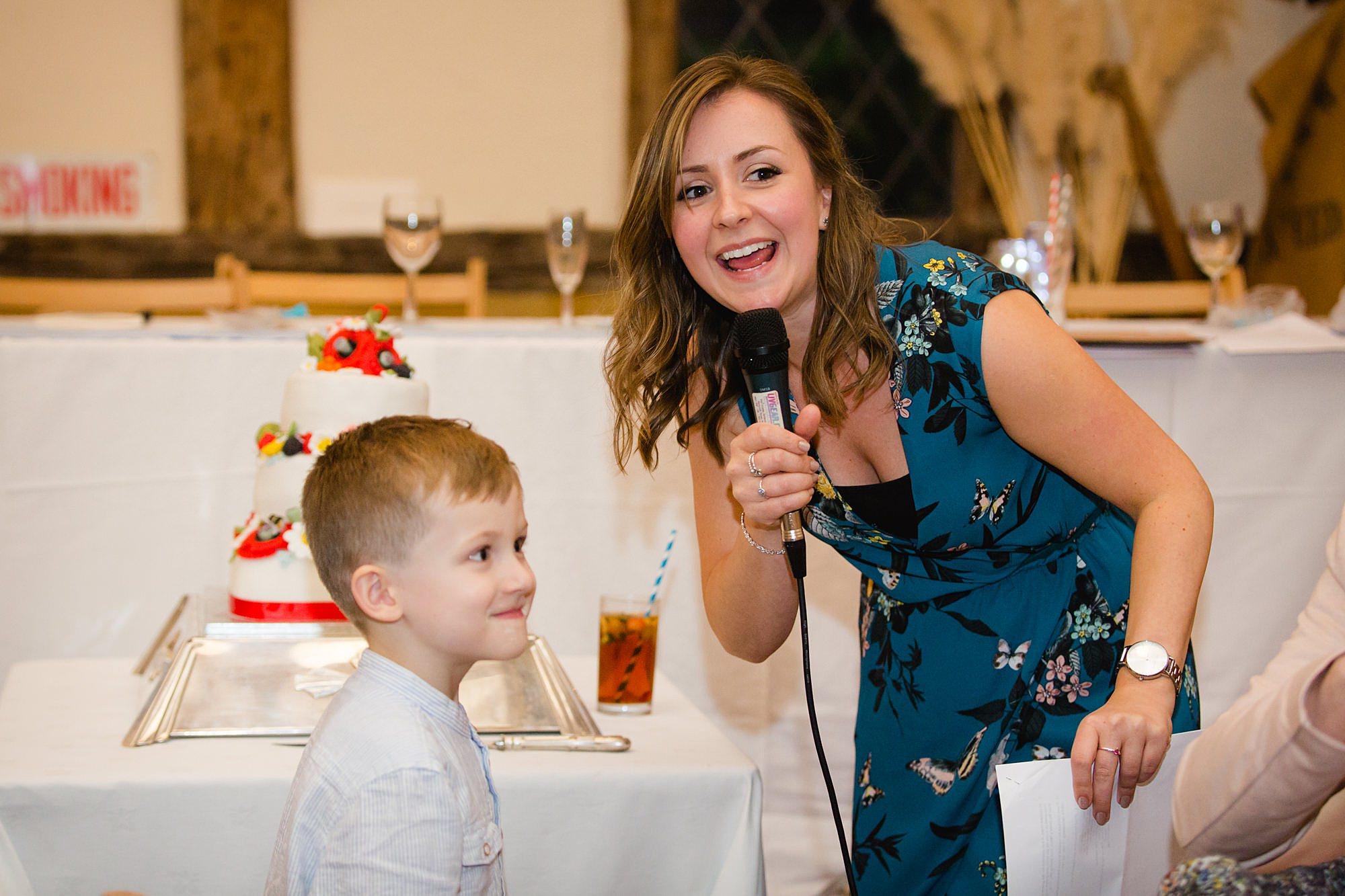 guest announcing winner of wedding quiz at norwood wedding