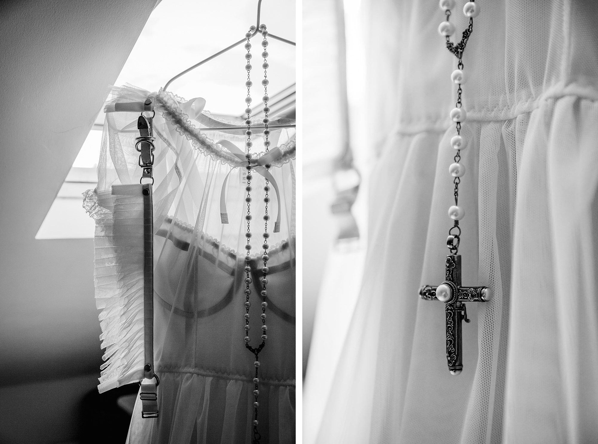 gothic lolita wedding dress details with rosary