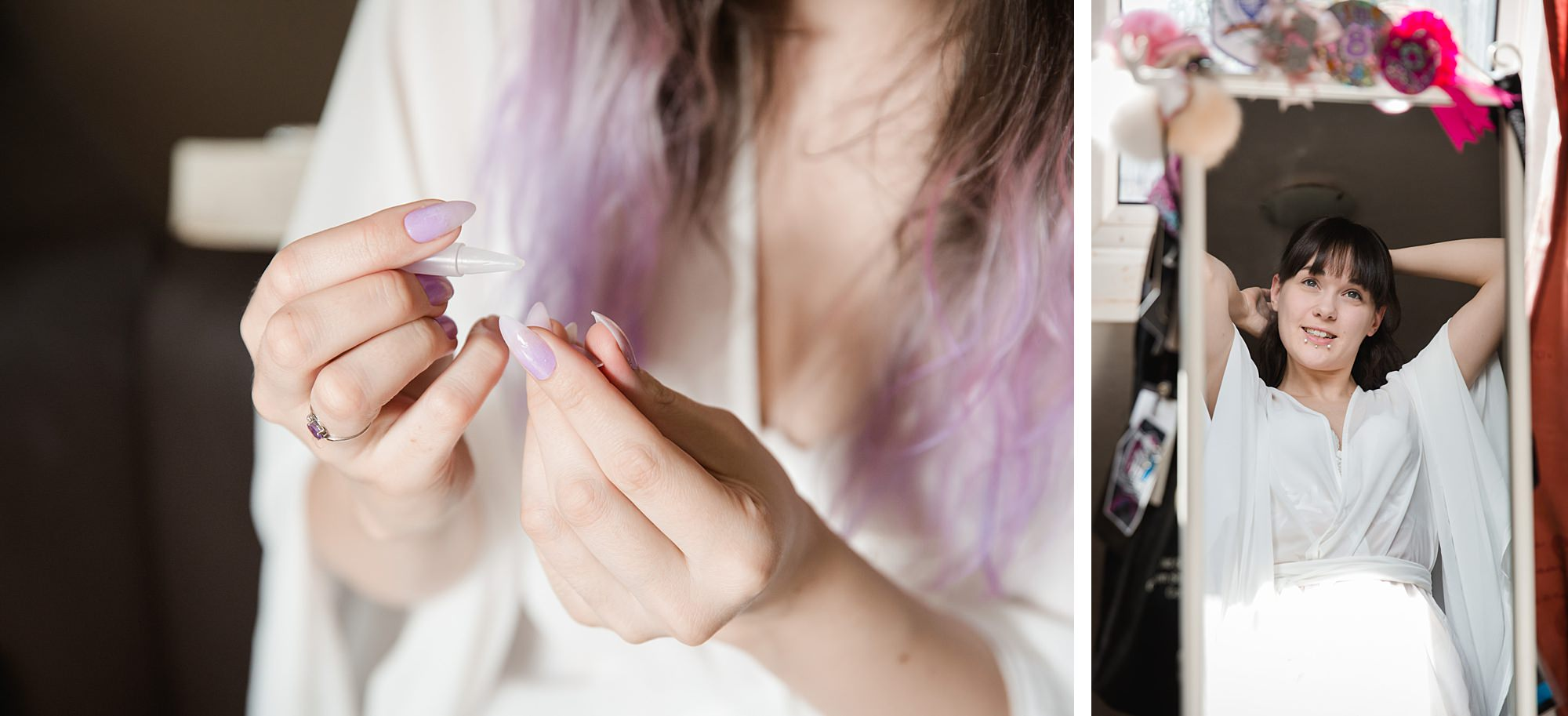 bride doing hair and nails for gothic wedding in London