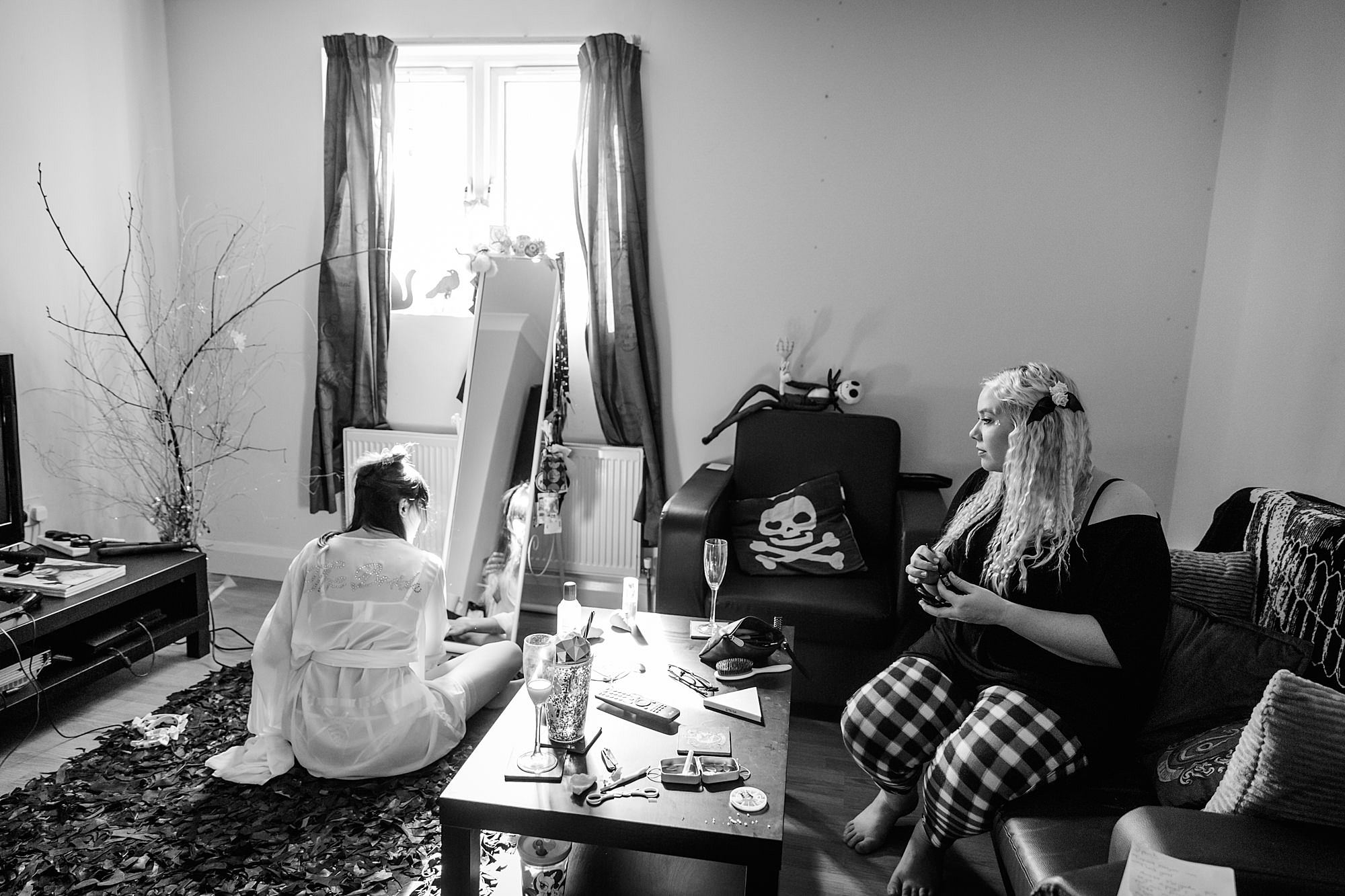 Gothic wedding London bride and bridesmaid doing hair and makeup