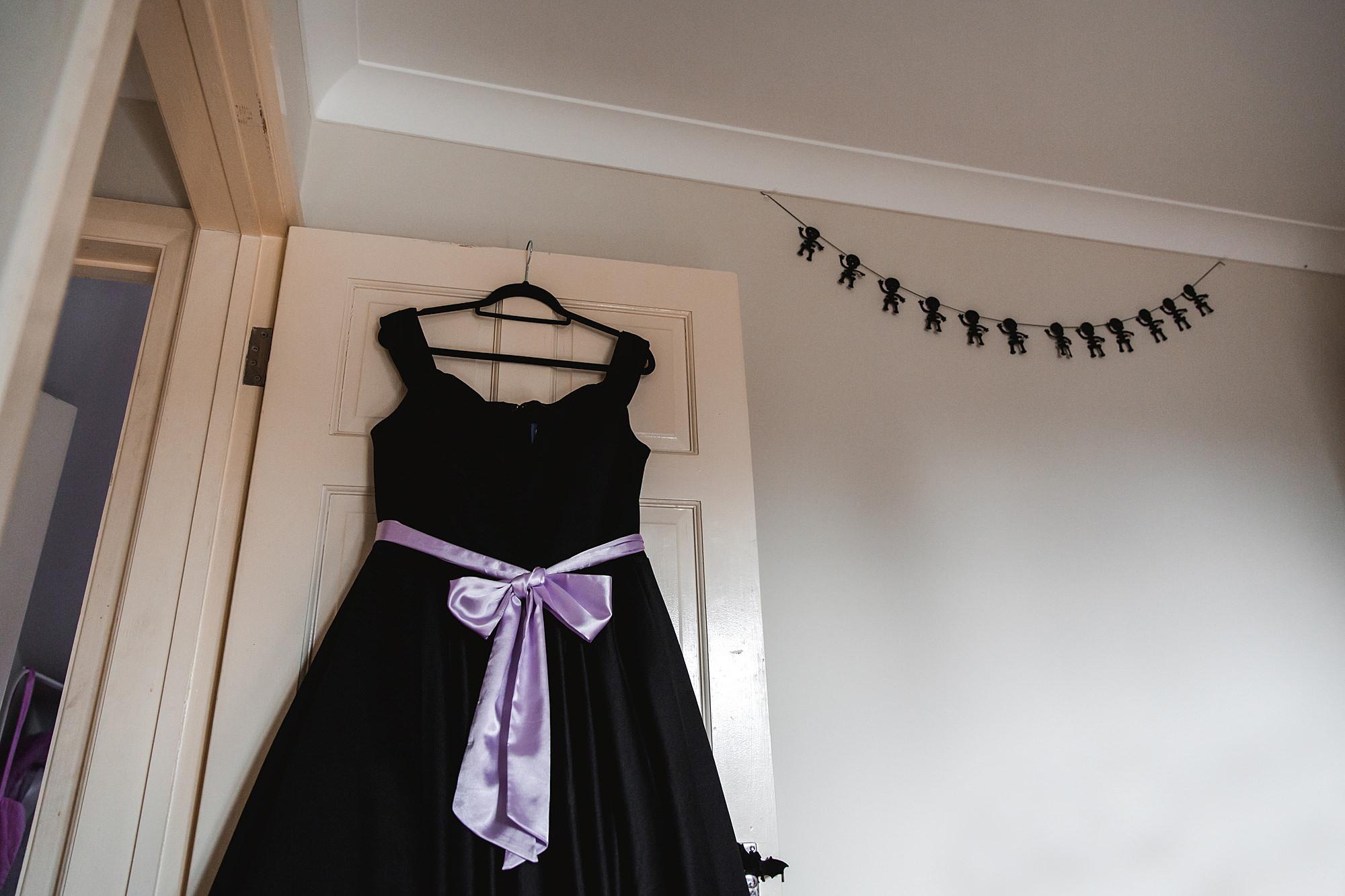 Gothic wedding London black bridesmaid dress