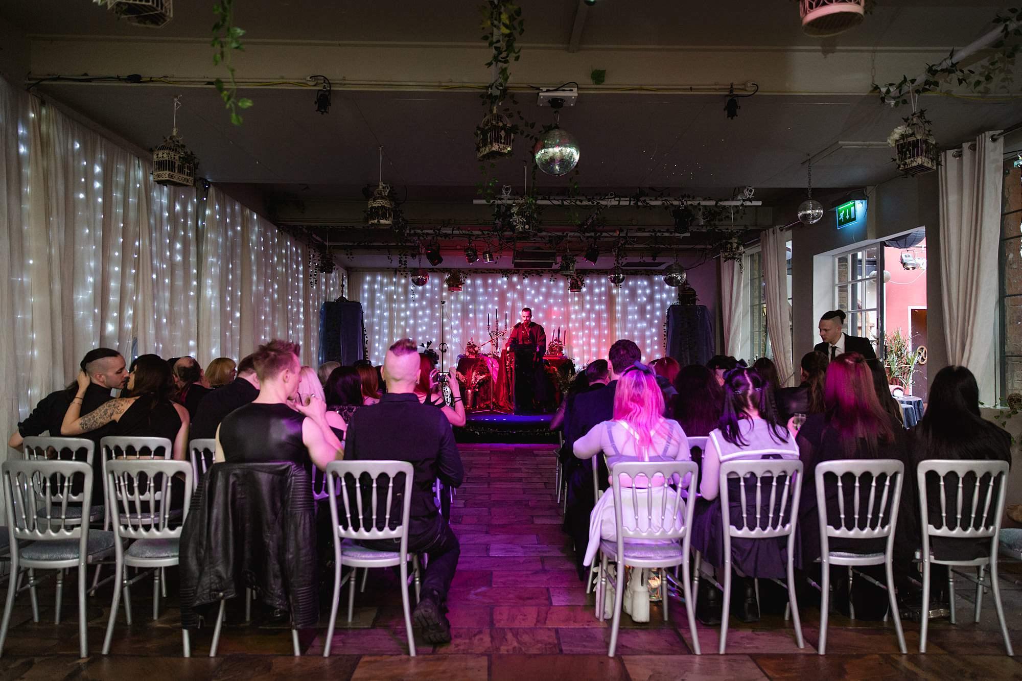 Gothic wedding London setup for ceremony at islington metalworks