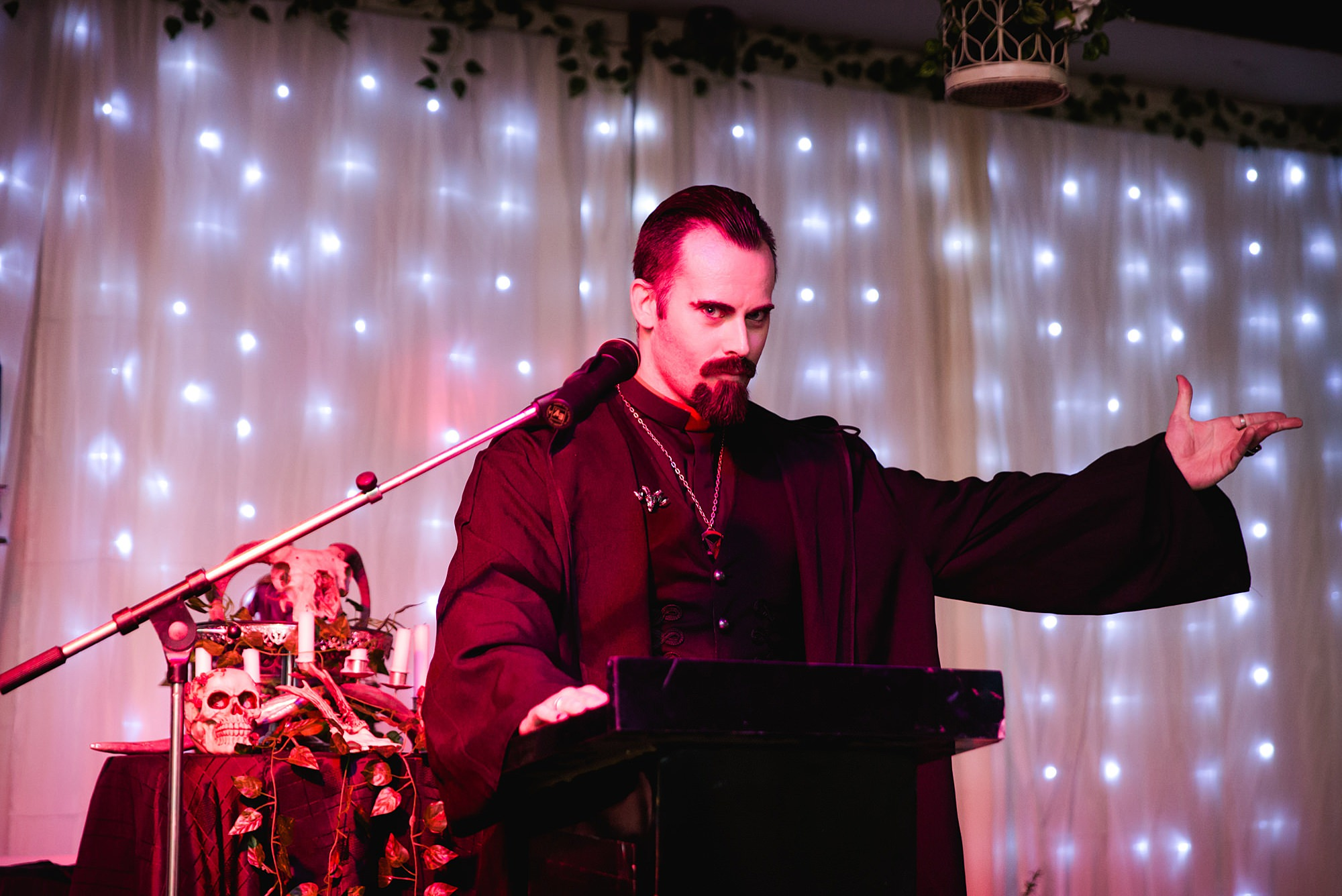 wedding officiant at altar for Gothic wedding London