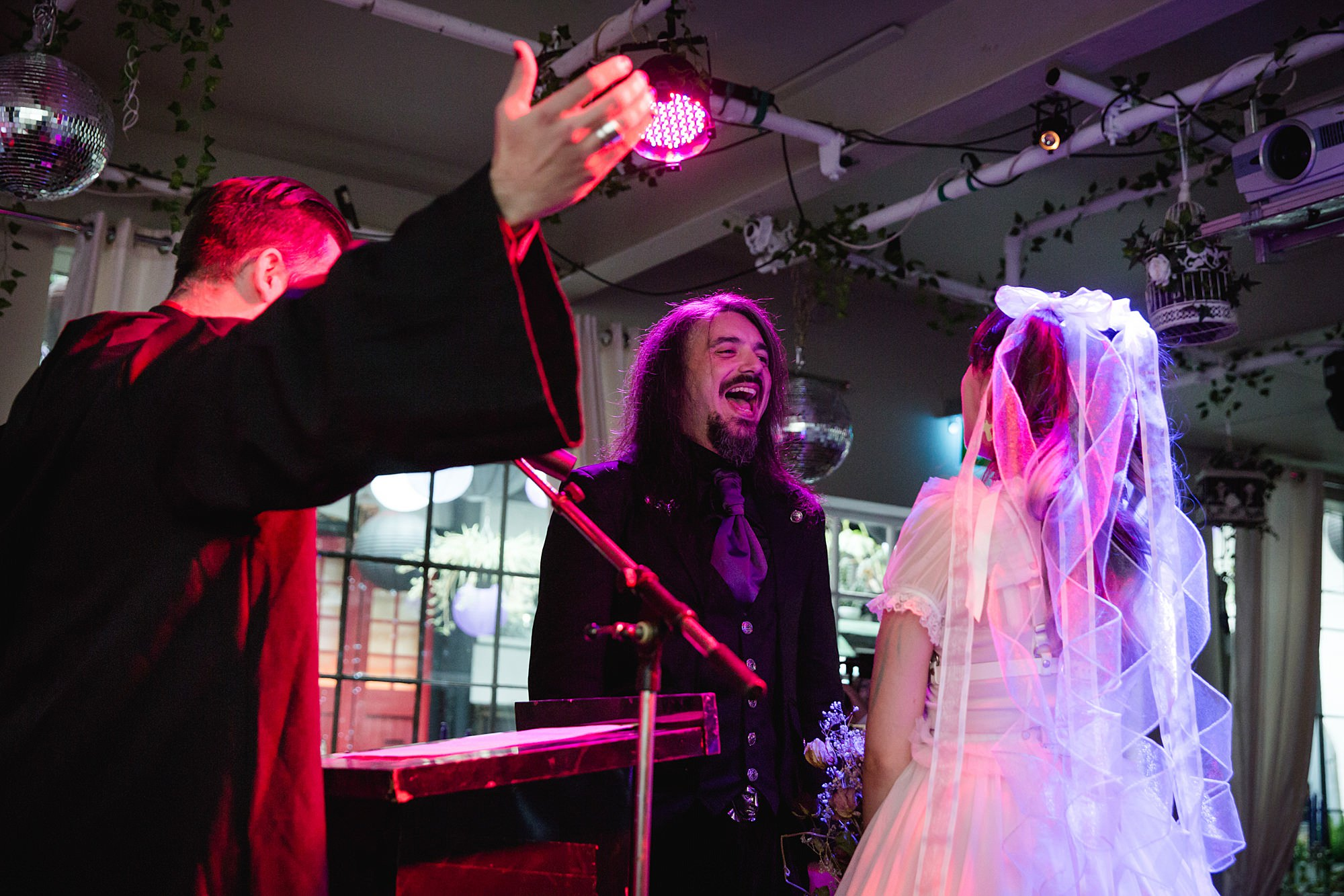 bride and groom during gothic ceremony at islington metalworks