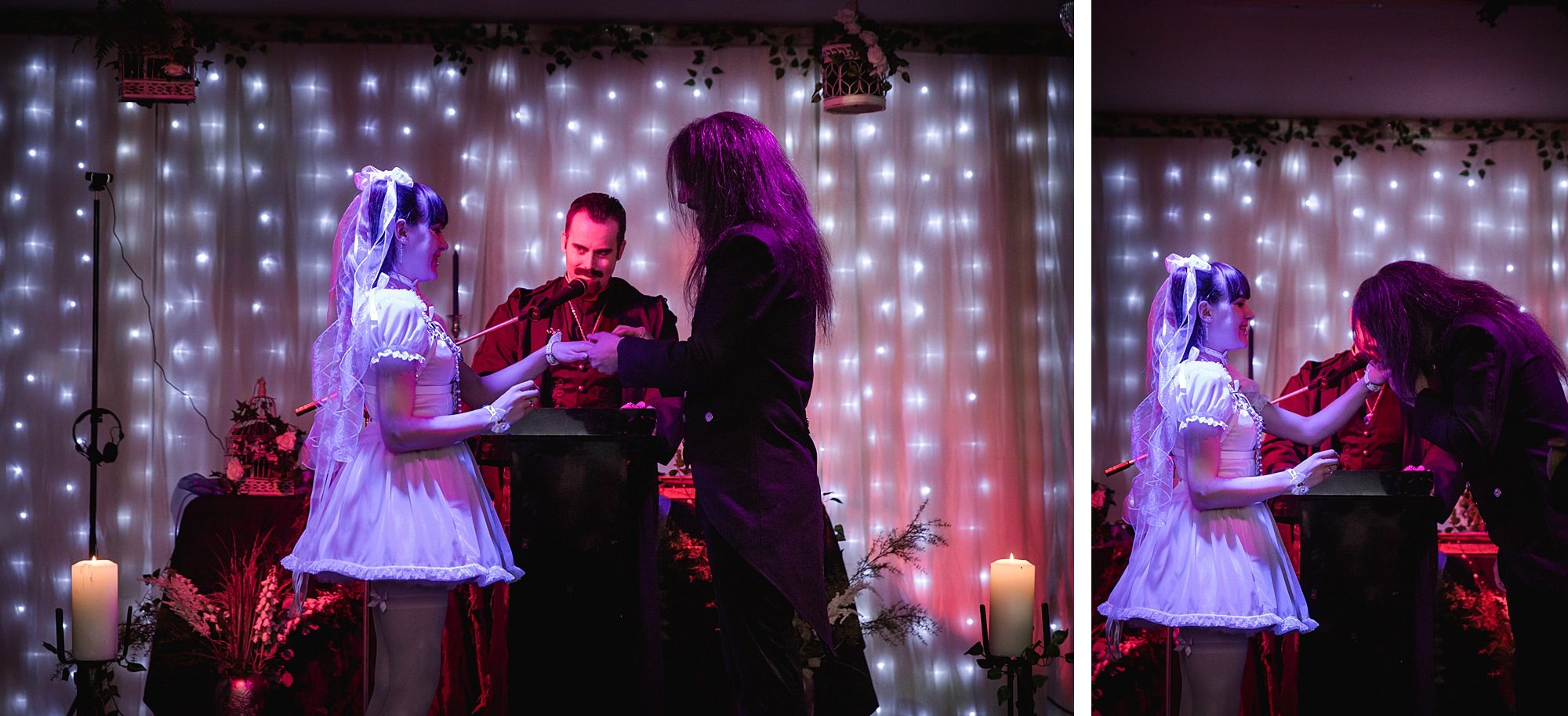 bride and groom exchange rings at Gothic wedding London