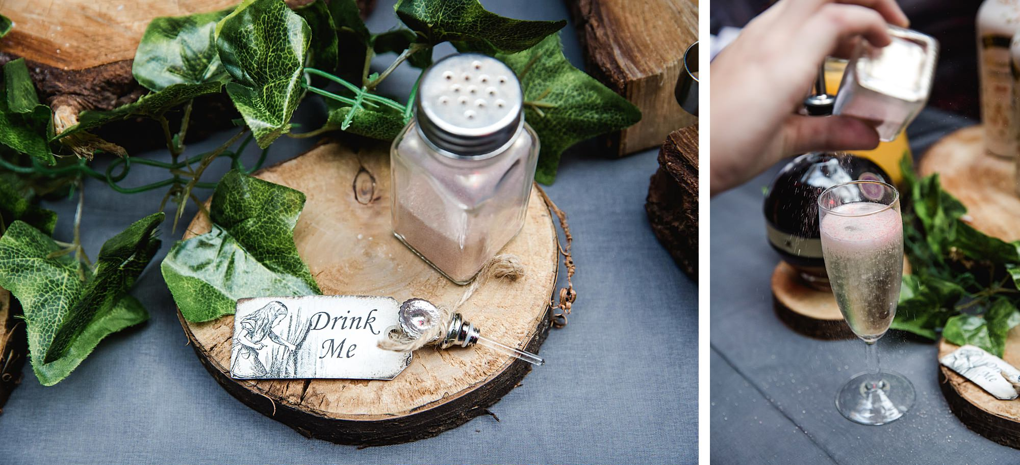 drink me label on prosecco dust at Gothic wedding London