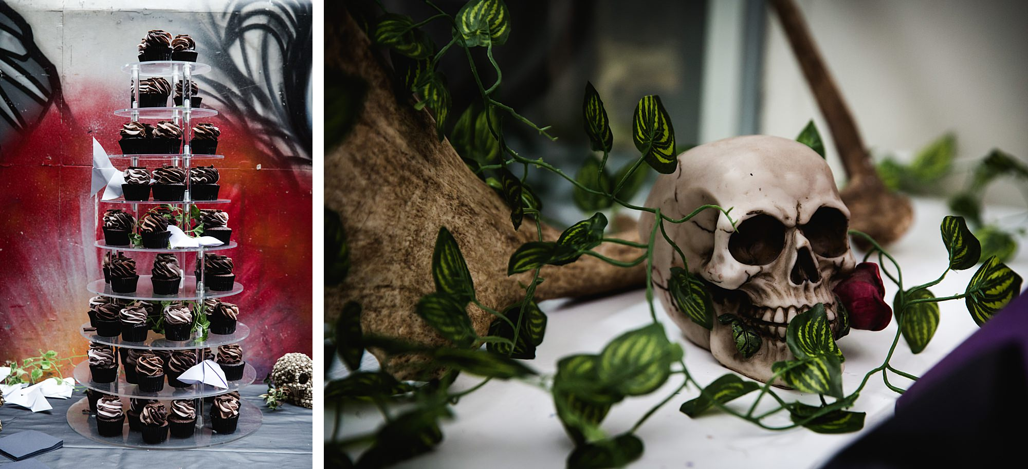 cupcakes and skull decoration at Gothic wedding London