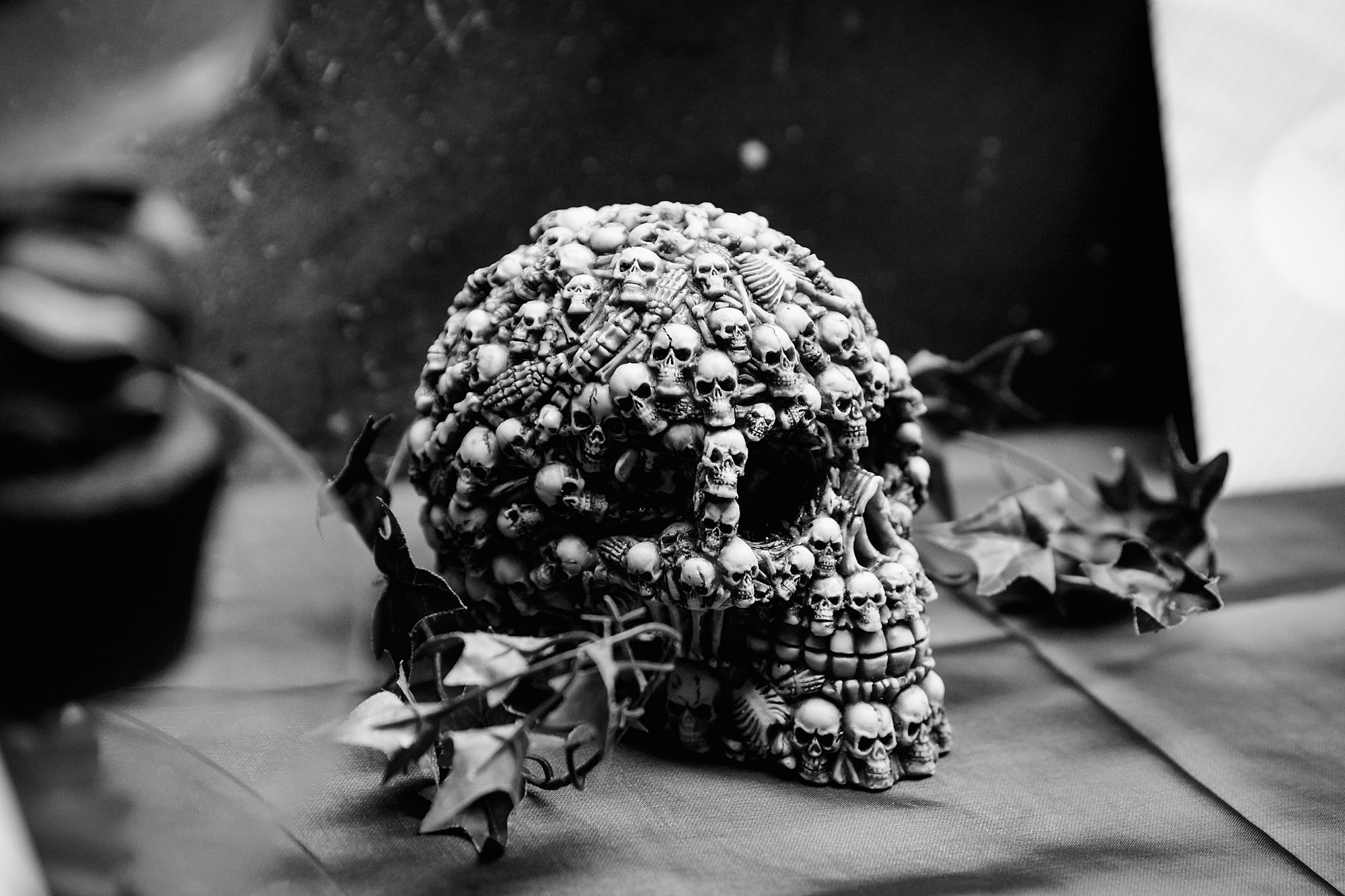 Gothic wedding London skull decoration