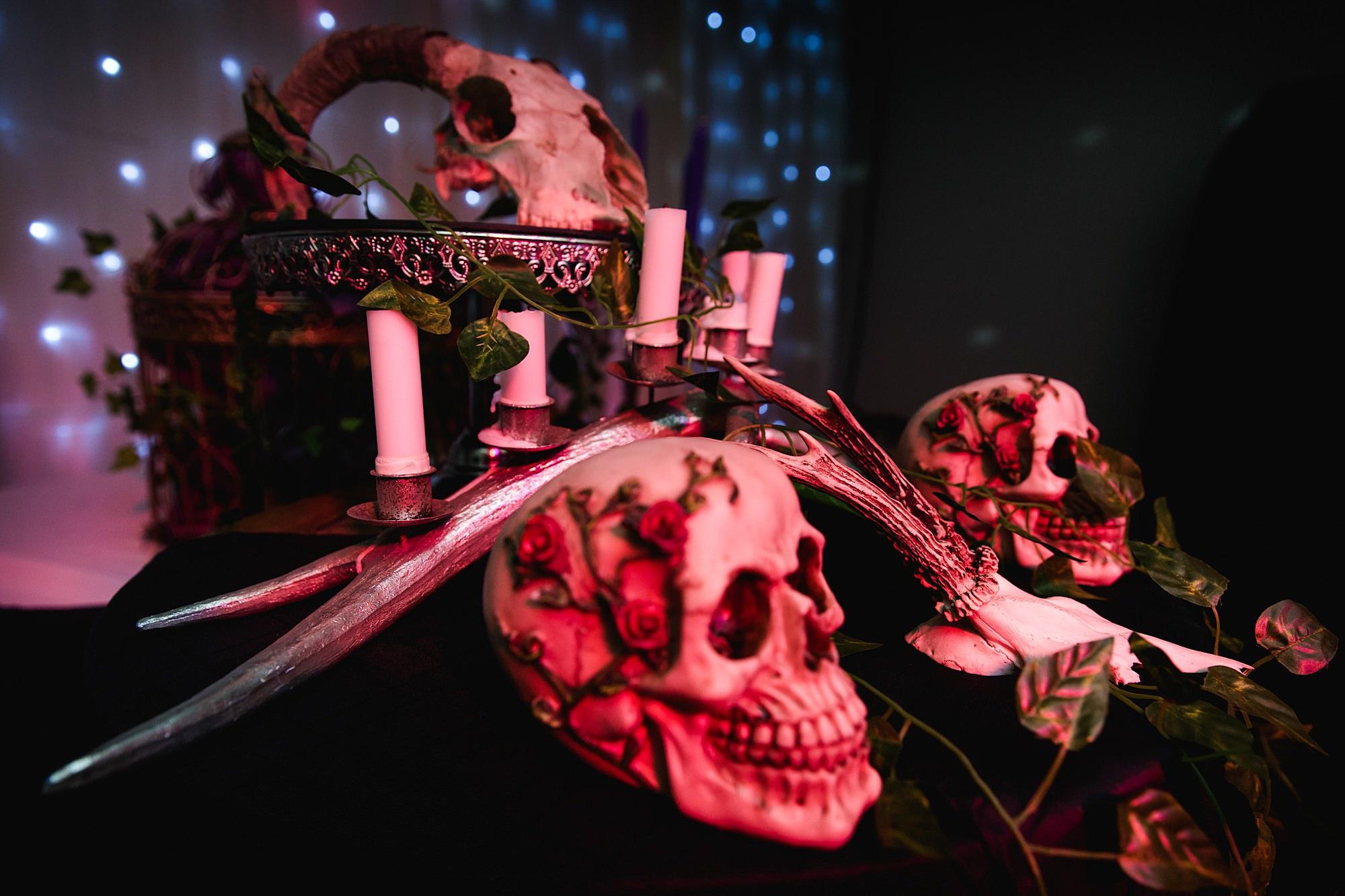 skulls at altar for Gothic wedding London
