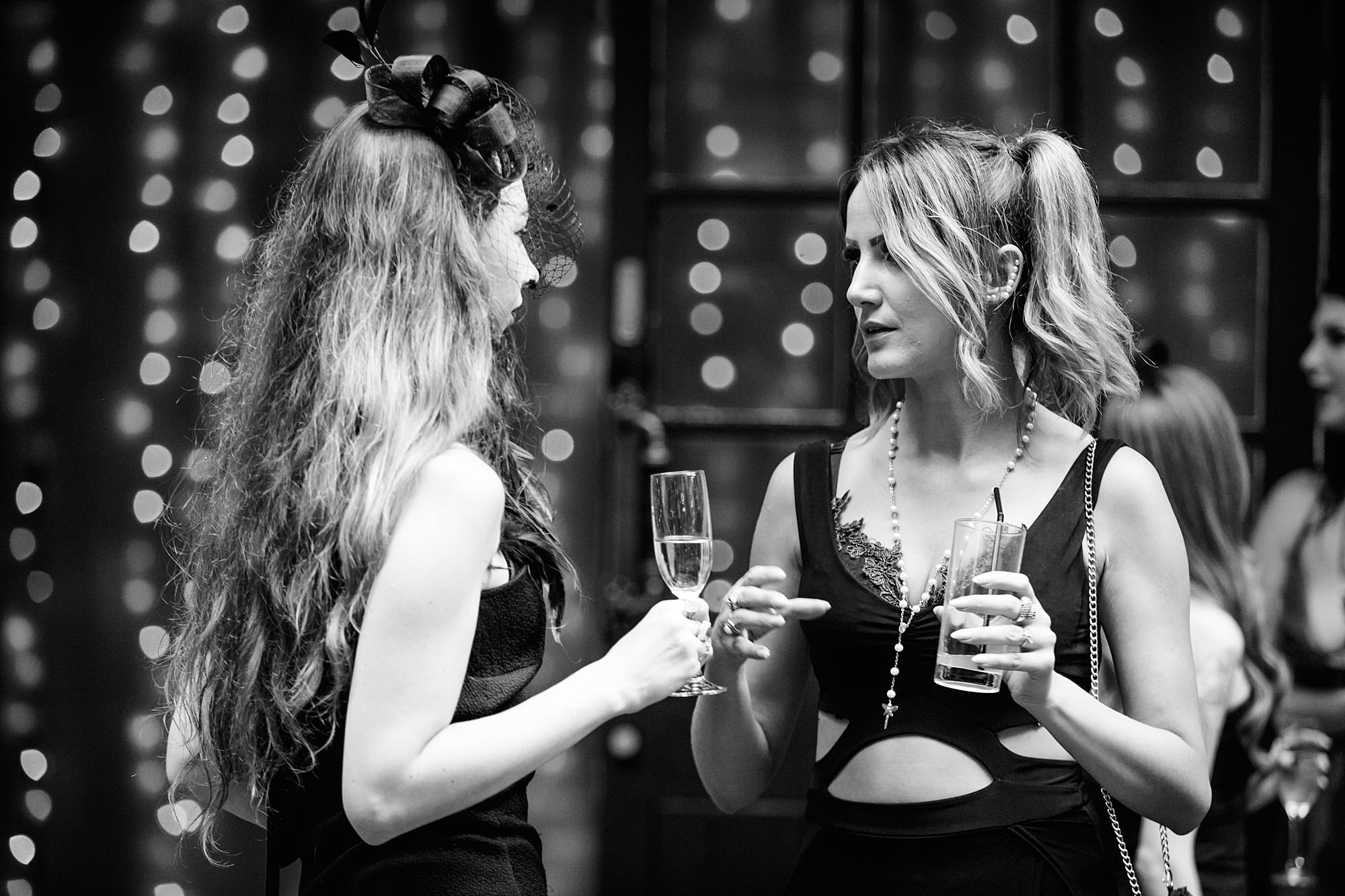 guests chatting at goth wedding london