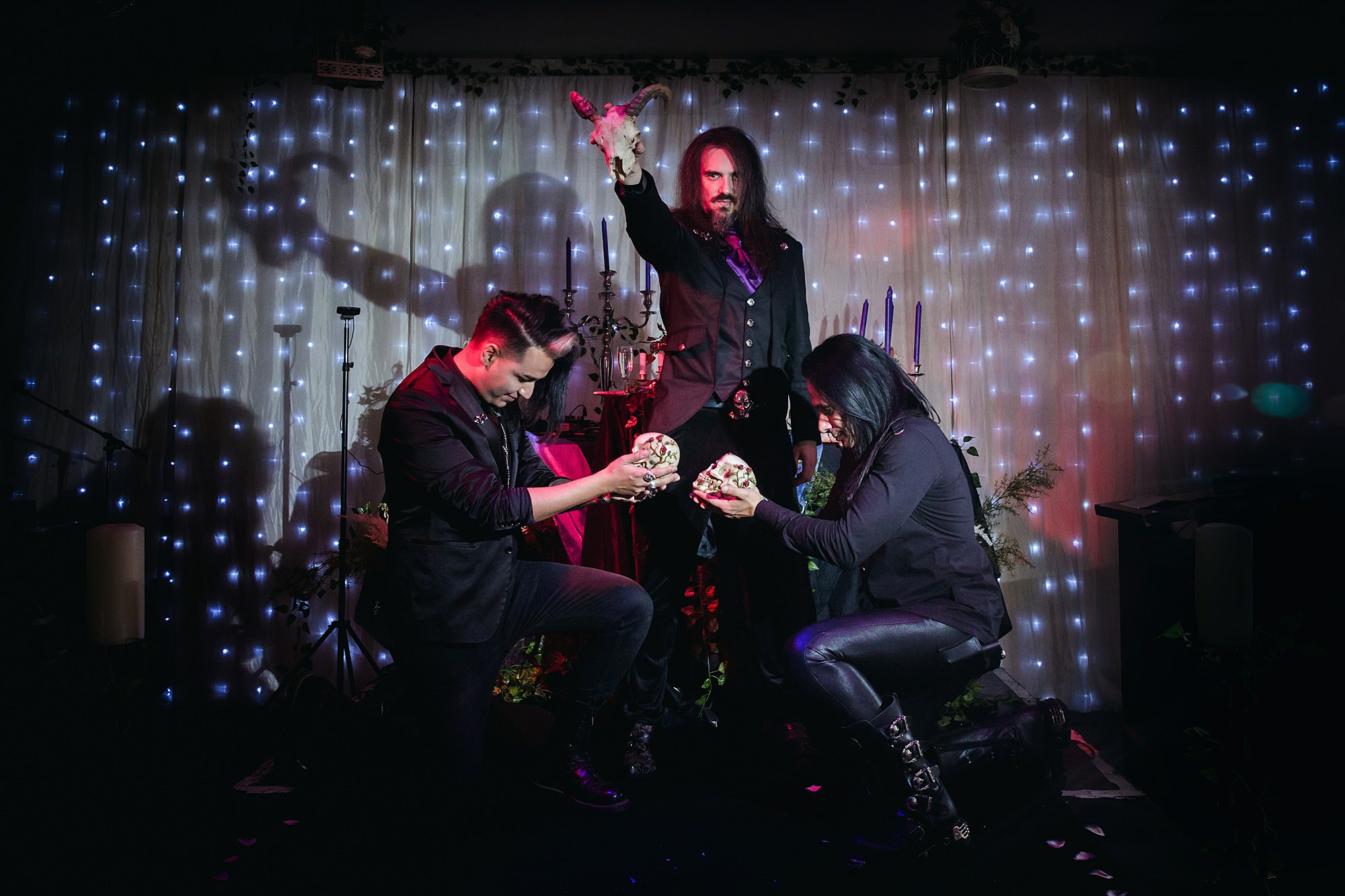 fun picture of groom and groom man at gothic wedding london