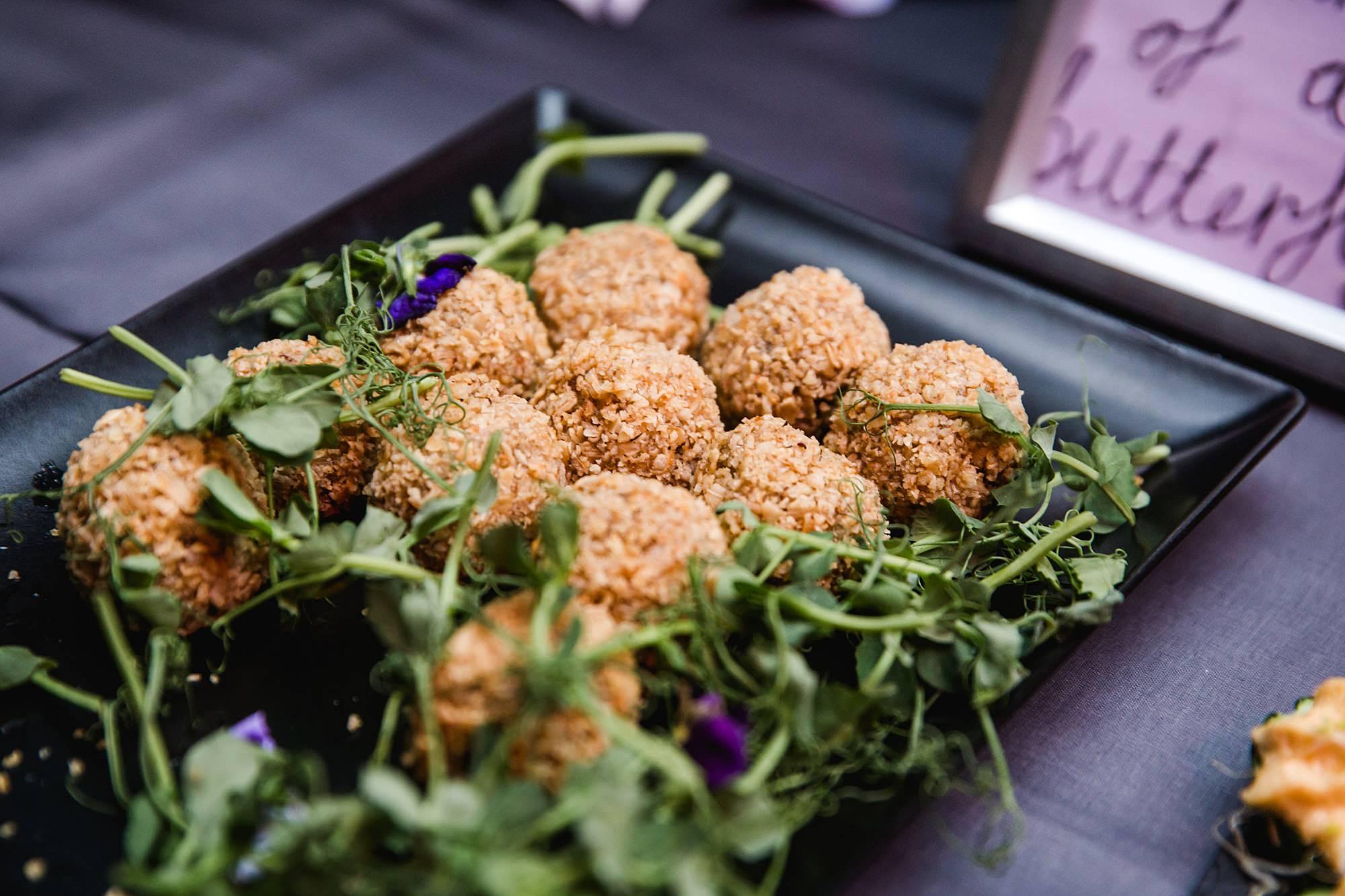 vegan canapés food ai islington metalworks wedding