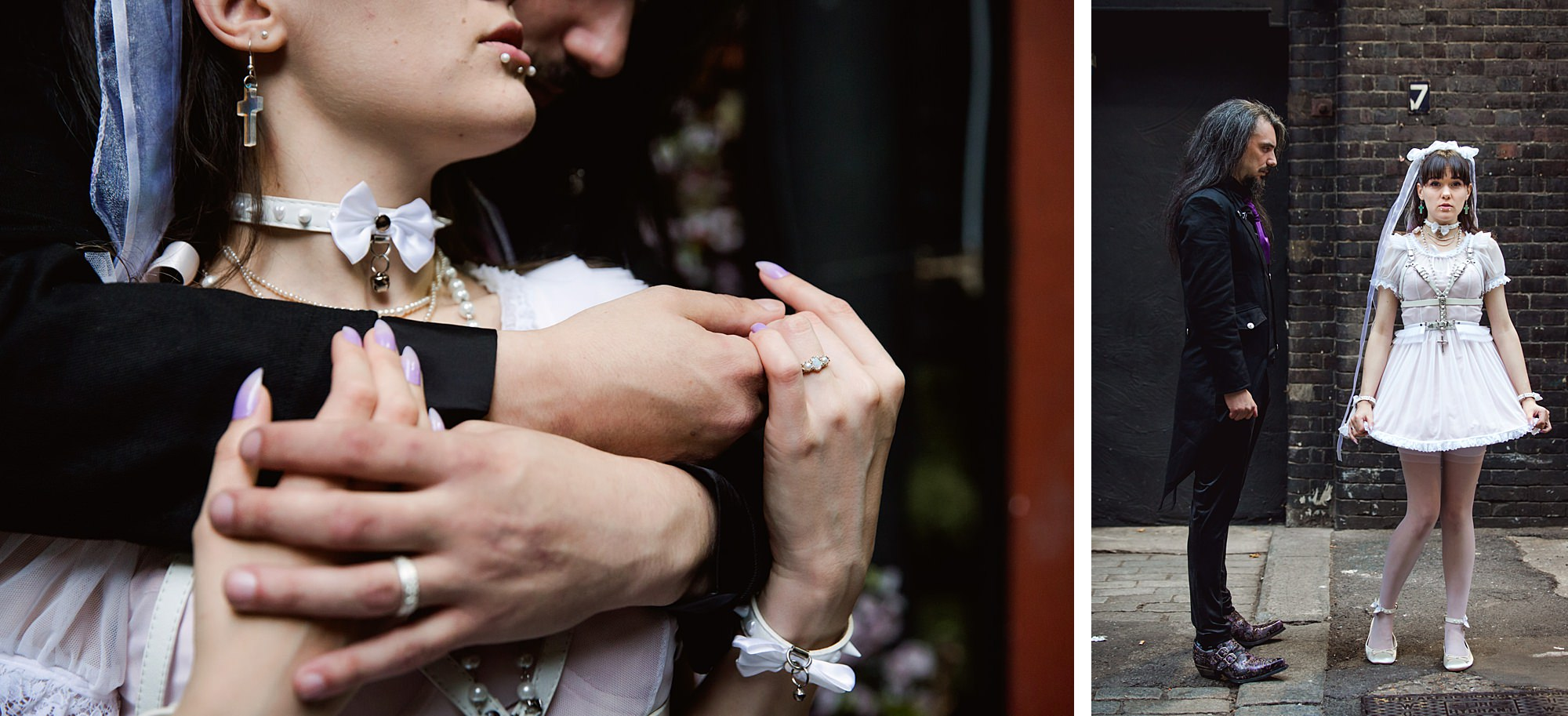 Gothic wedding London bride and groom outside islington metalworks