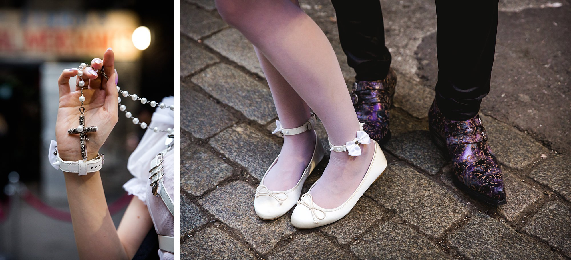 bride's rosary and shoes at goth wedding