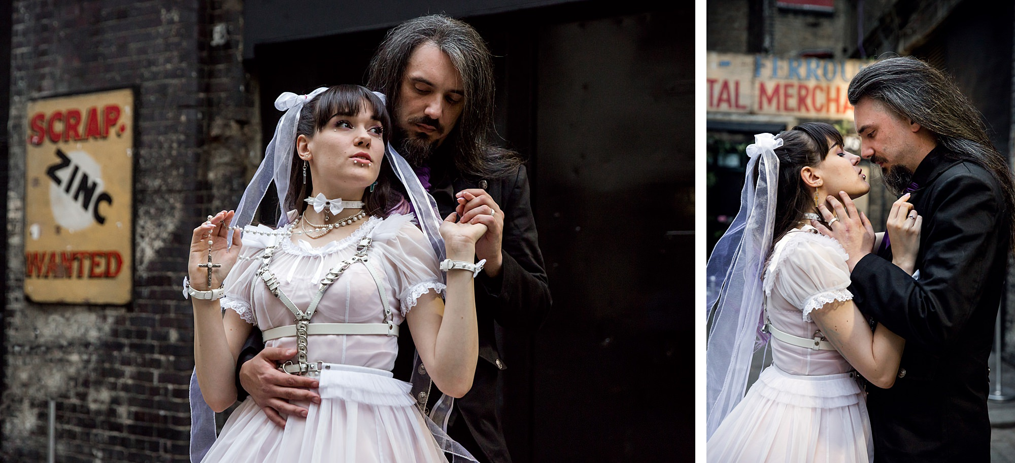 a groom holds his bride at gothic wedding london