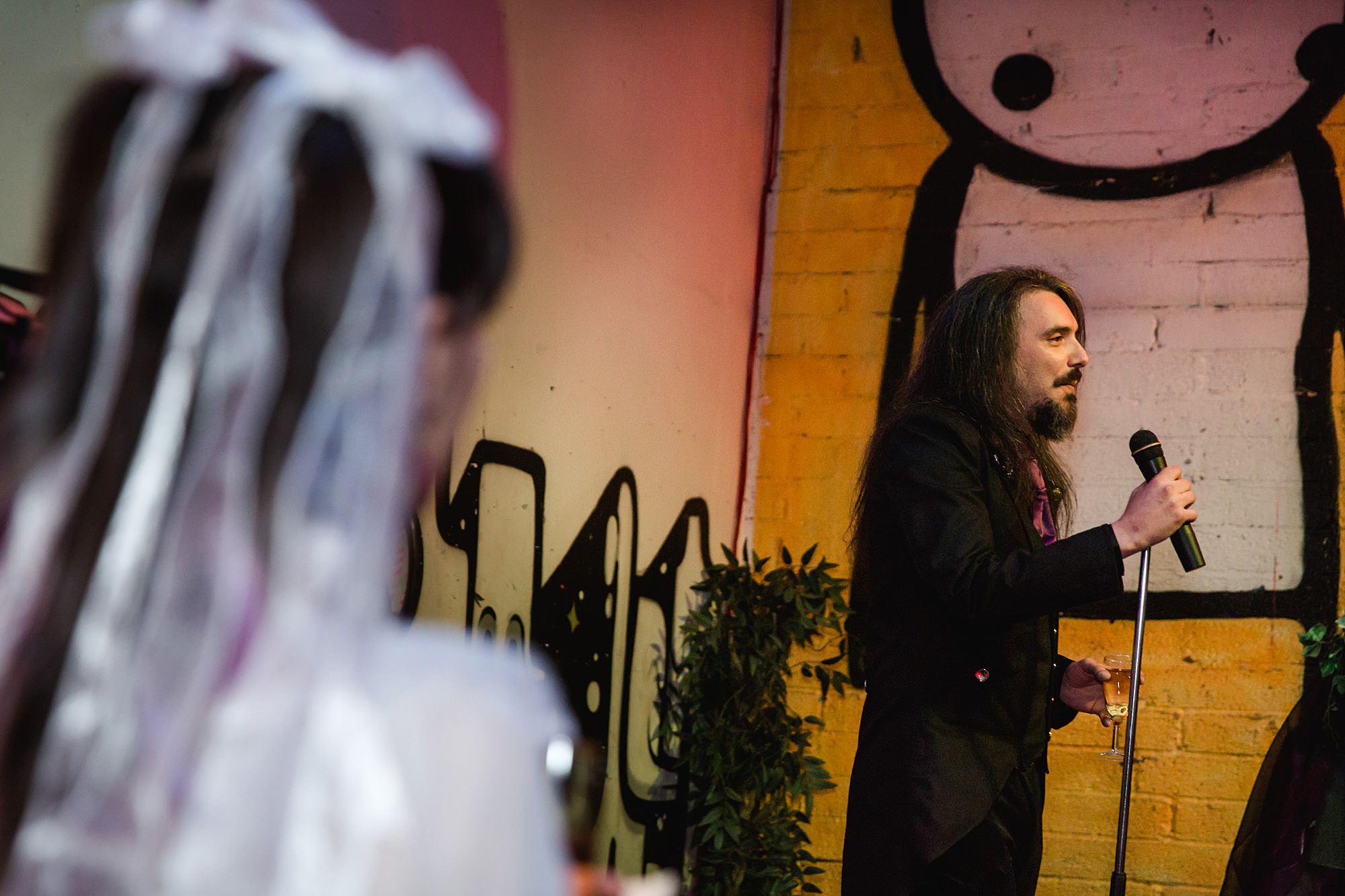 groom makes a speech Gothic wedding London