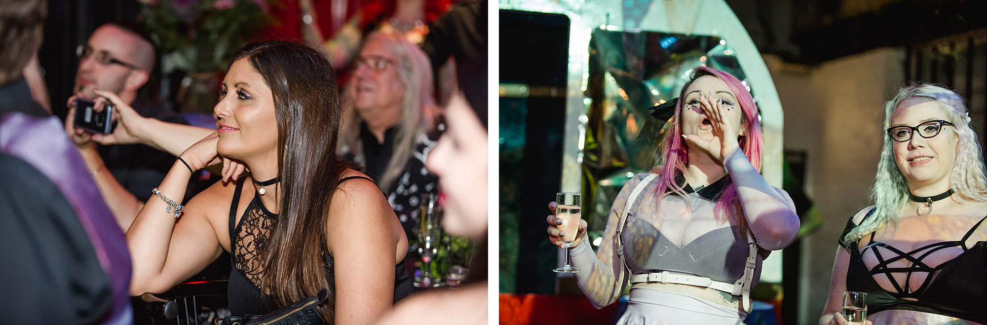 wedding guests cheer speeches at islington metalworks