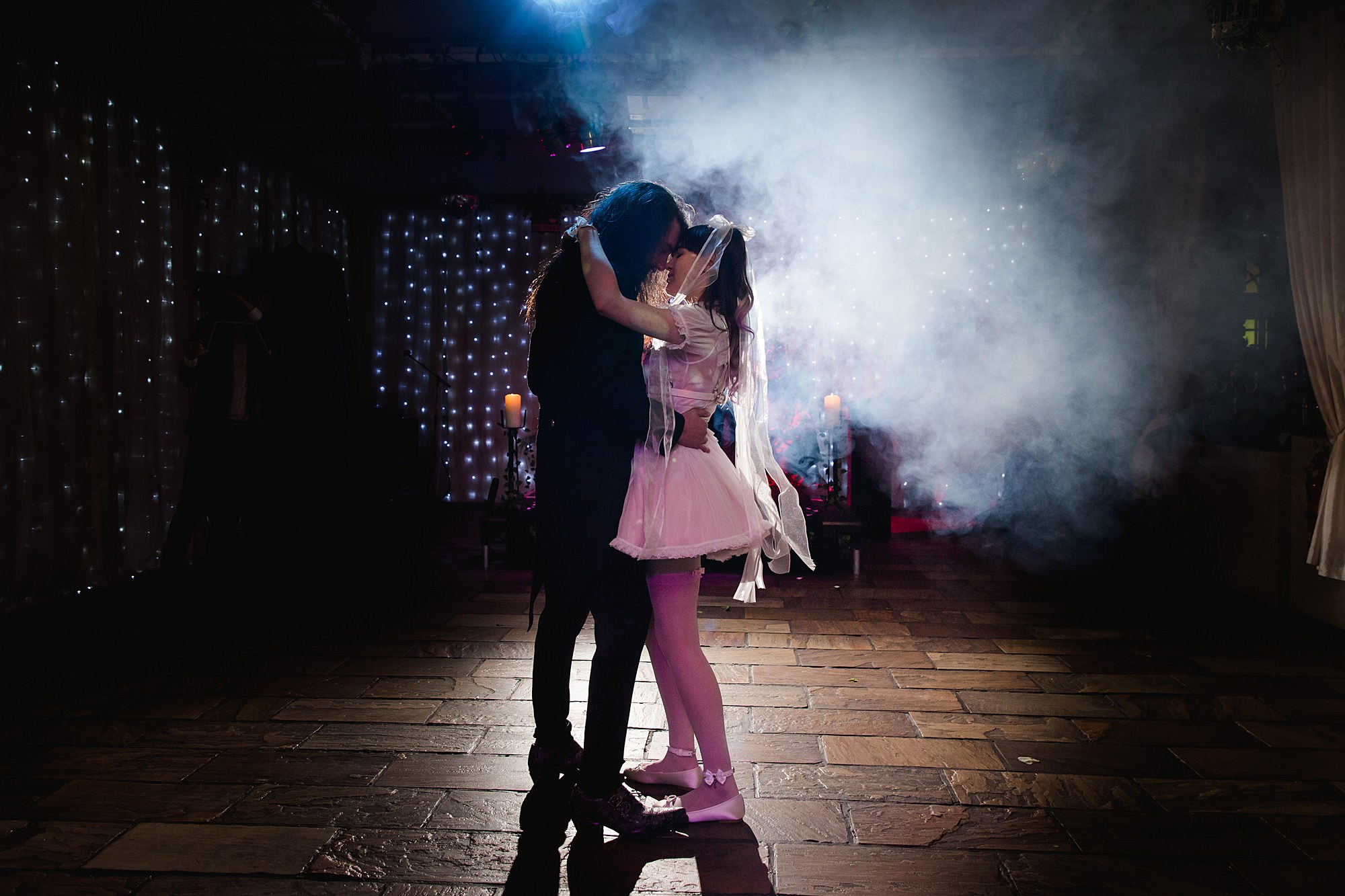 Gothic wedding London bride and groom first dance with smoke machine
