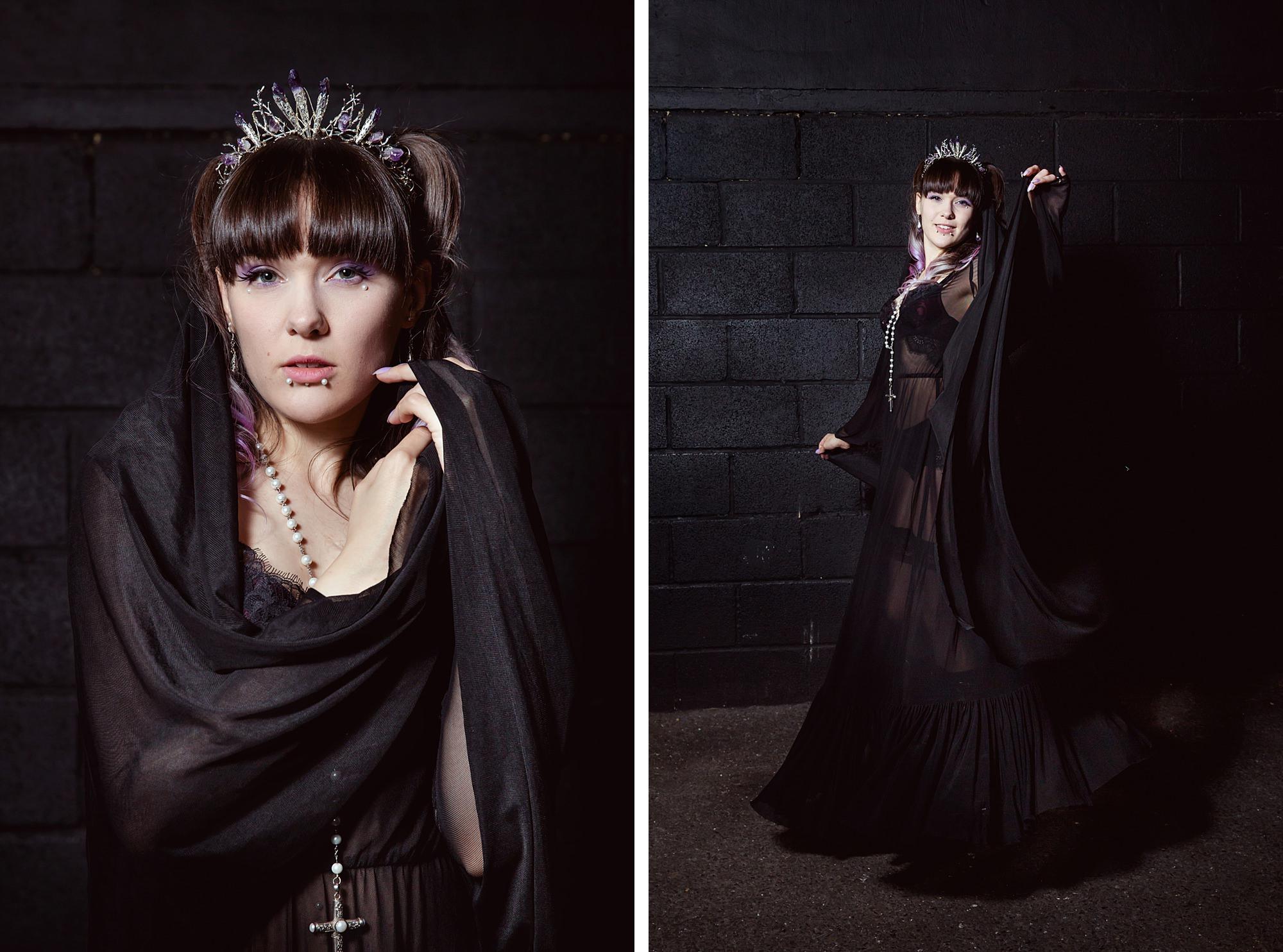 Gothic wedding London portrait of bride wearing amethyst crown