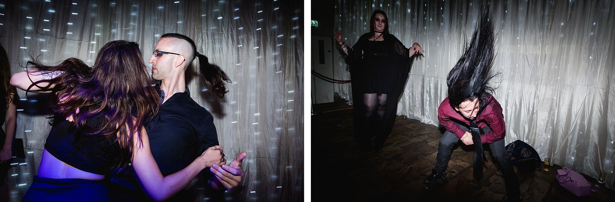 guests dancing at goth wedding london