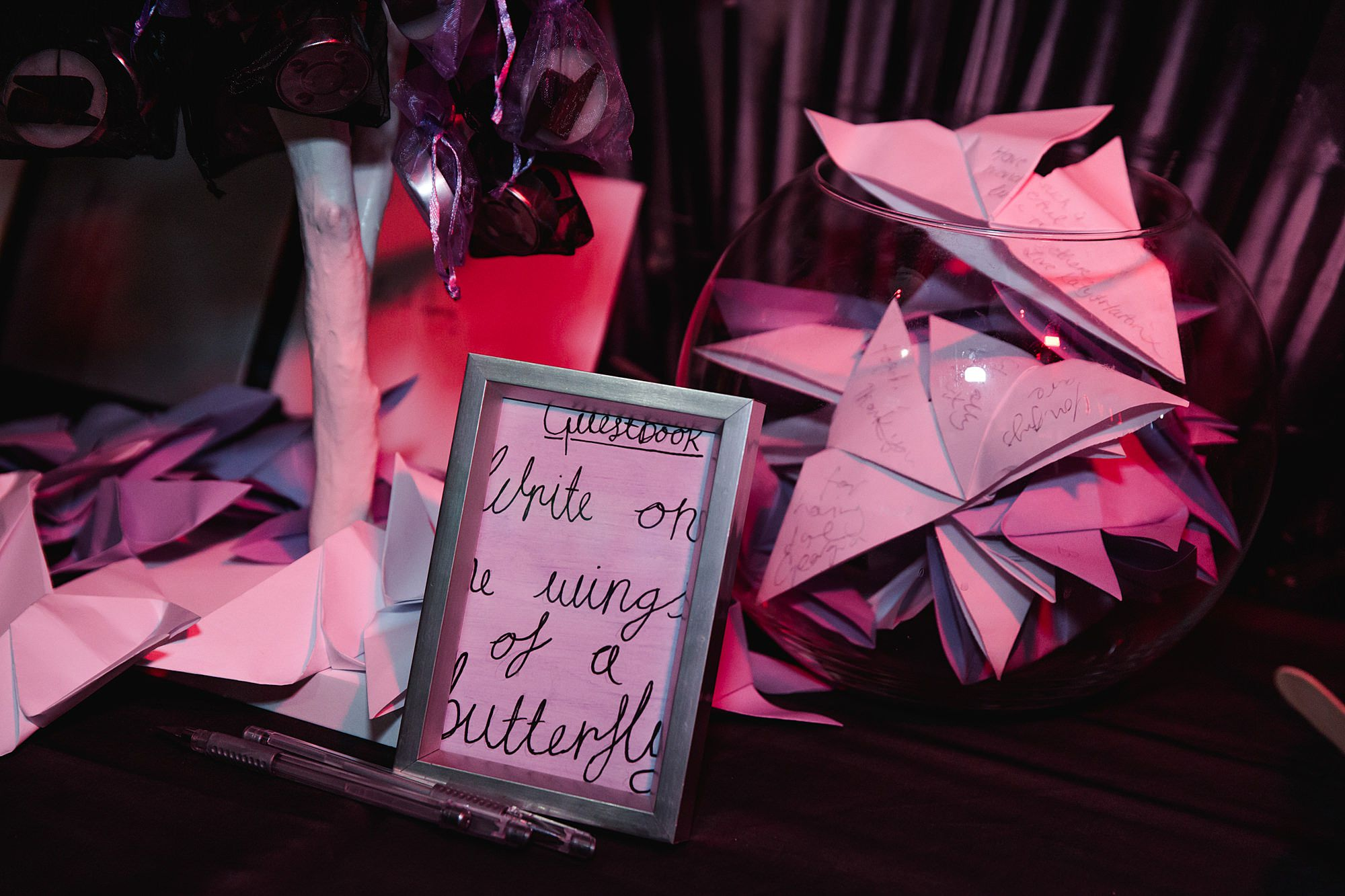 origami butterfly guest book at gothic wedding