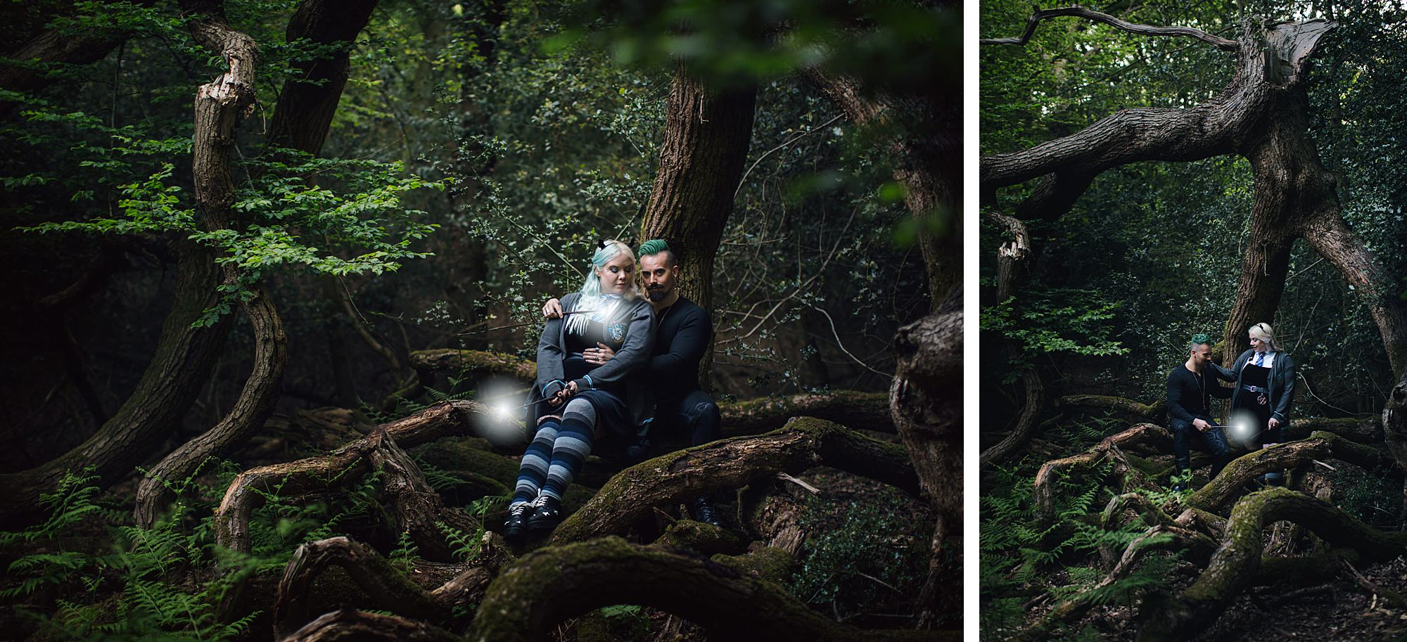 Harry Potter engagement shoot couple in forest trees
