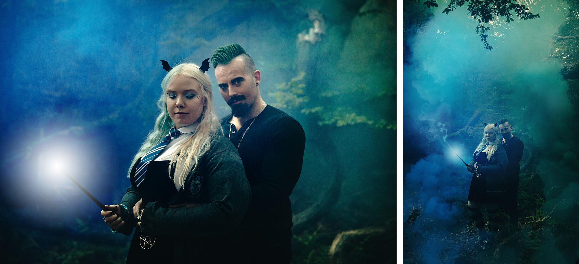 Harry Potter engagement shoot couple in green and blue smoke