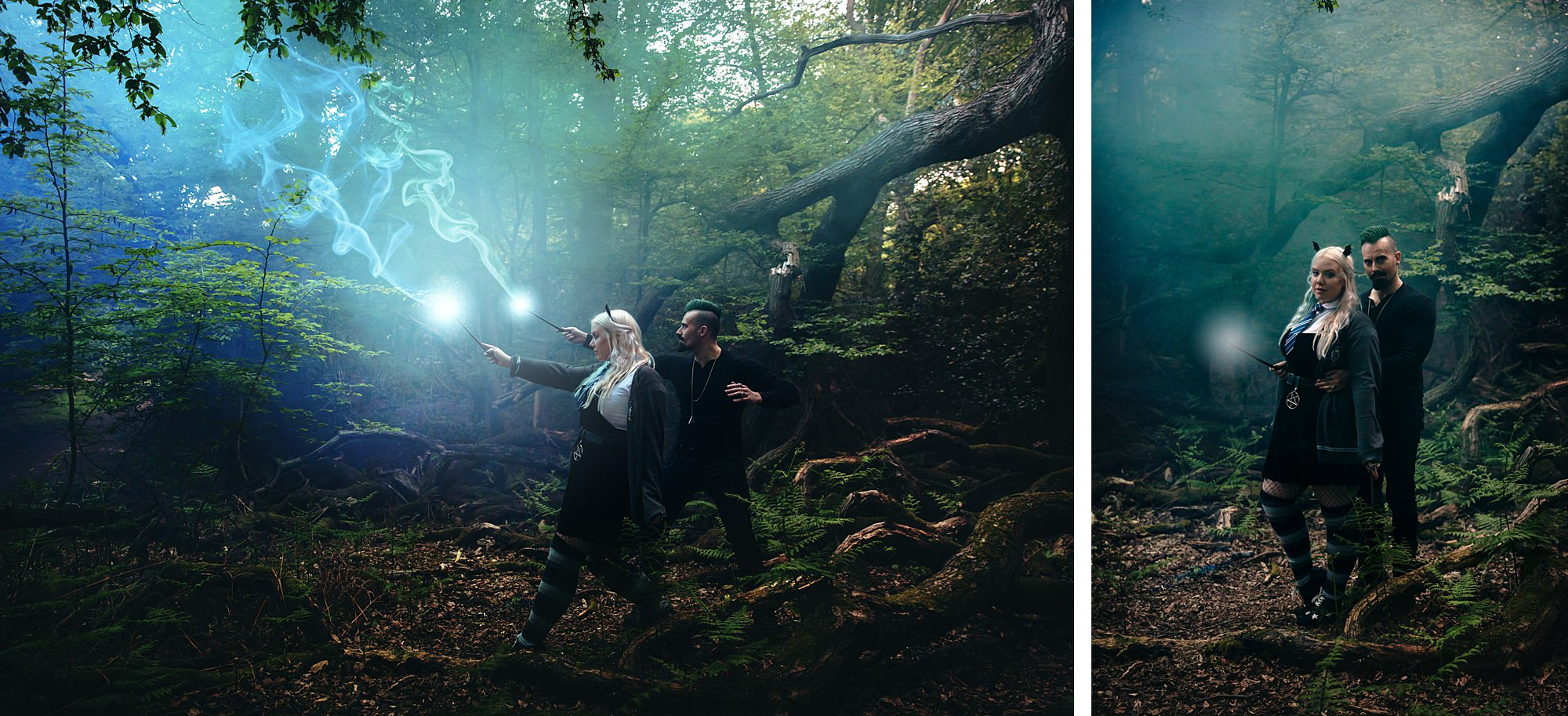 Harry Potter engagement shoot couple with magic wands