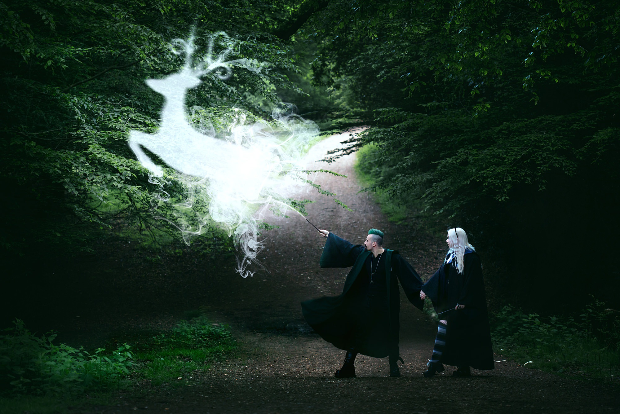 Harry Potter engagement shoot couple with patronus