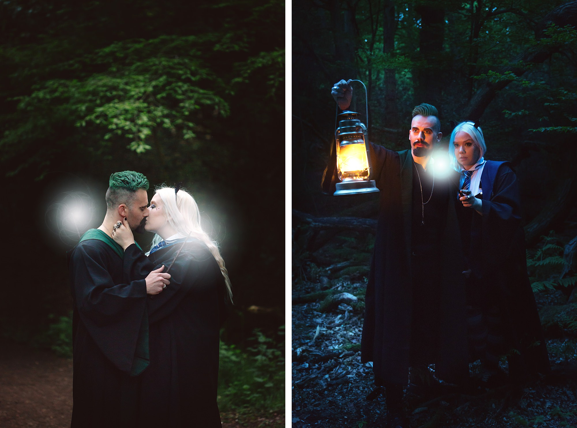 Harry Potter engagement shoot couple kissing wearing house robes