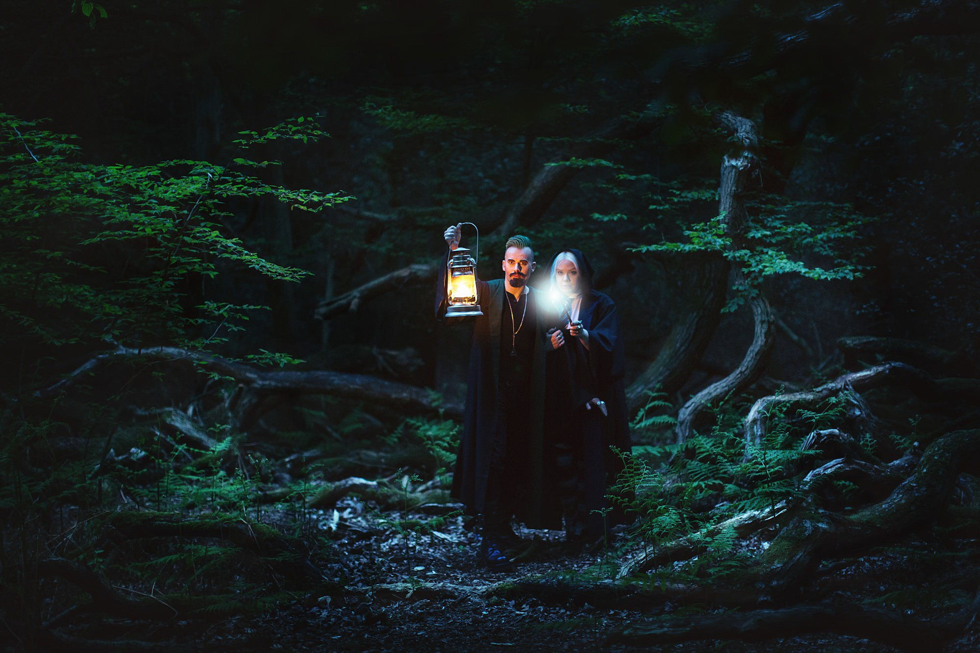 Harry Potter engagement shoot couple in forbidden forest