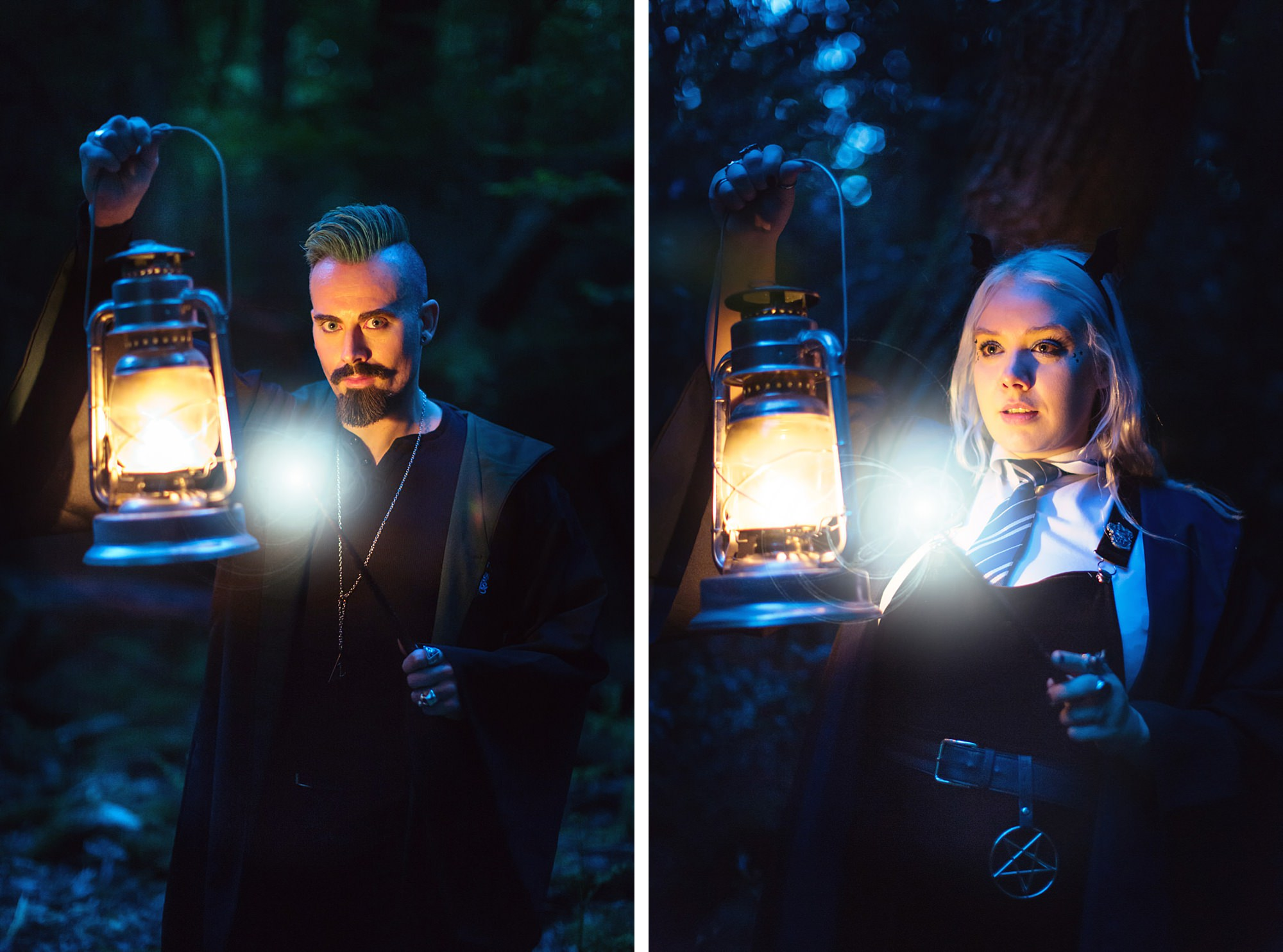 a couple wearing robes and lamps in forbidden forest