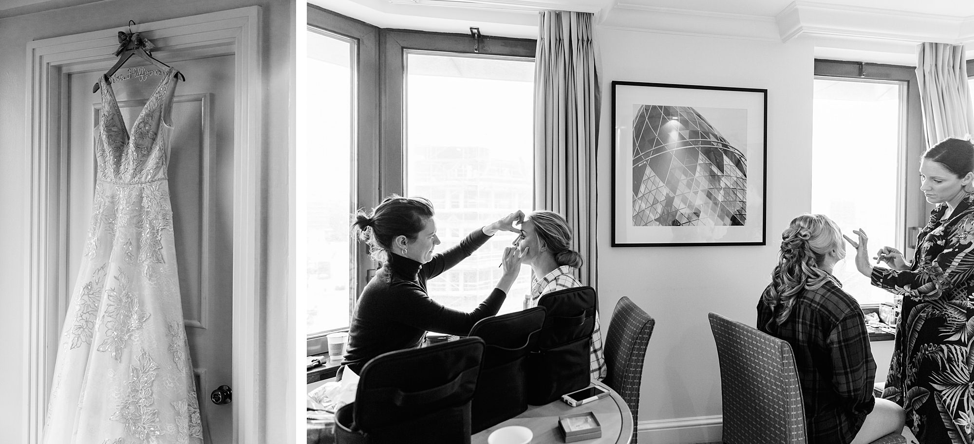 bride and bridesmaids having makeup done in hotel room