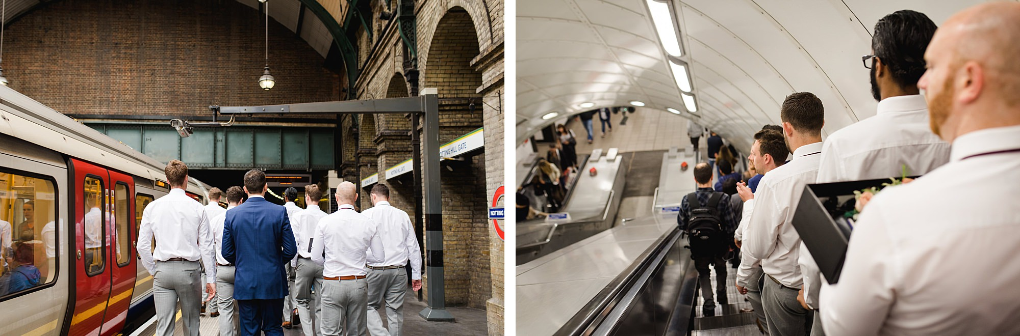 groomsmen walking through tube station