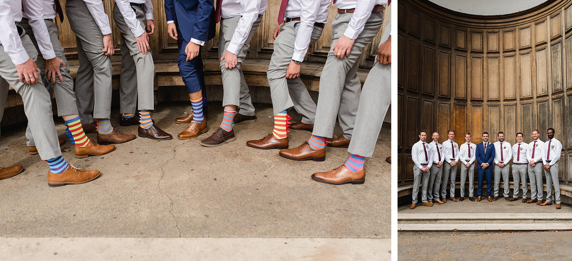 The Union Paddington Wedding groomsmen show off stripy socks