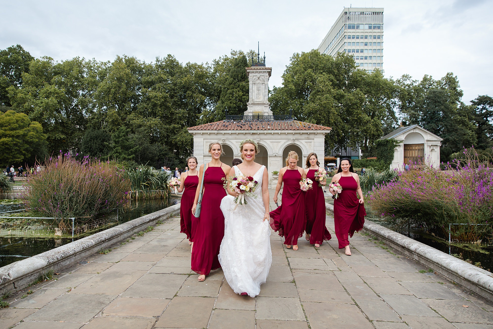 bride and bridesmaids in Italian Gardens in Kensington Park