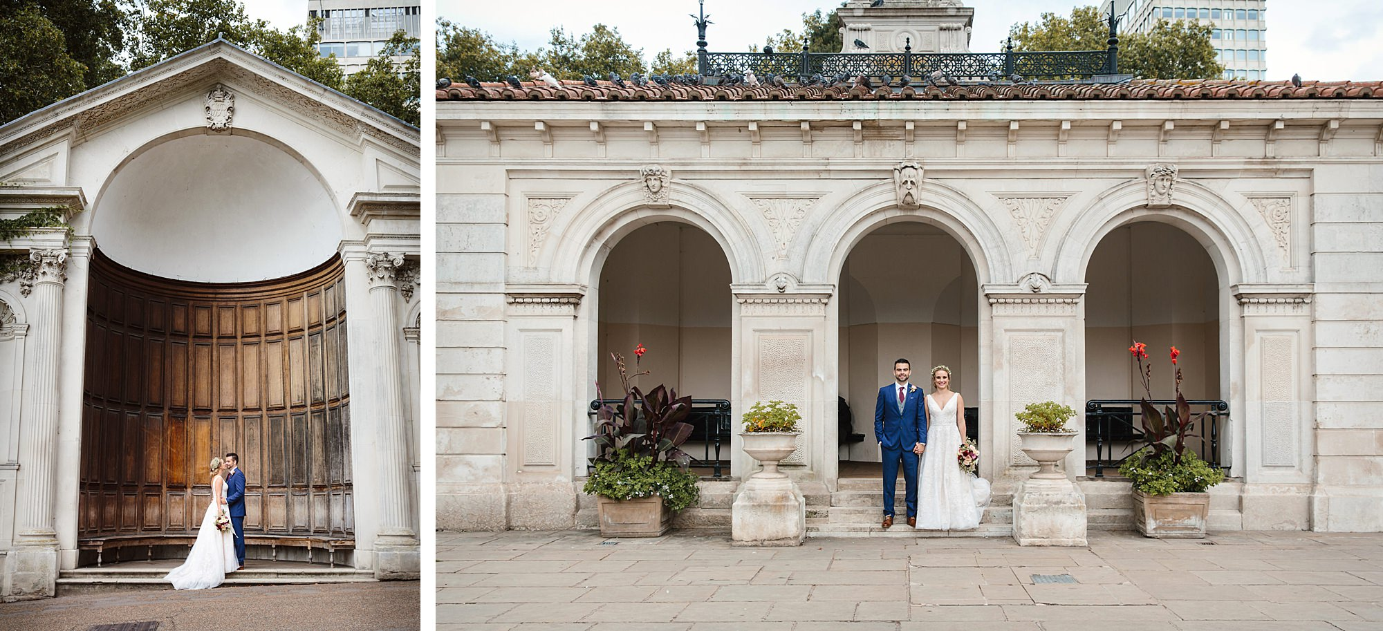 bride and groom in pump house at italian gardens