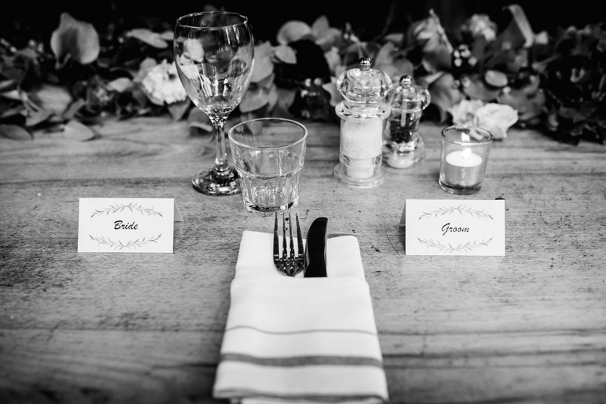 The Union Paddington wedding bride and groom place settings