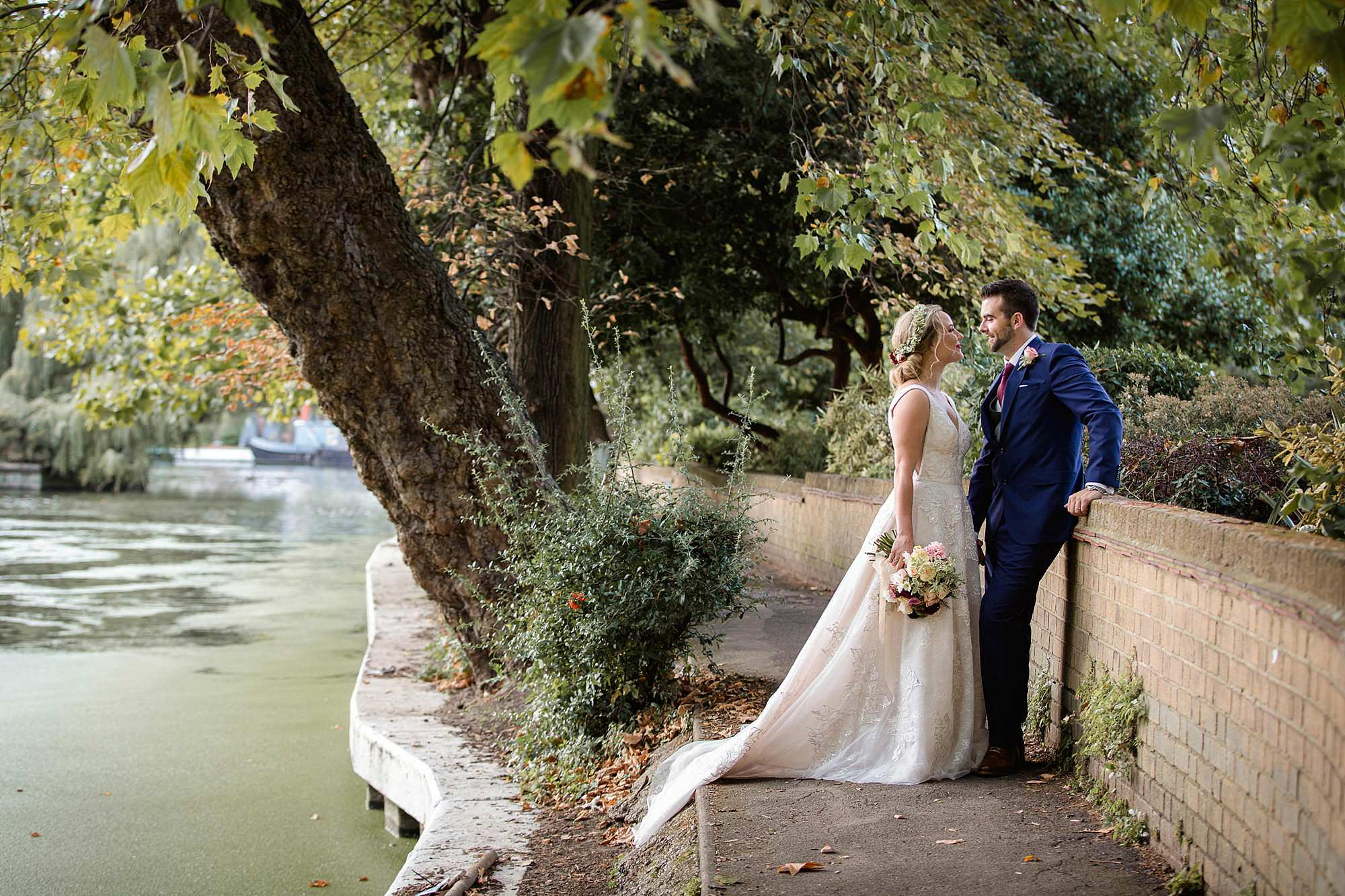 bride and groom on paddington canal pathway