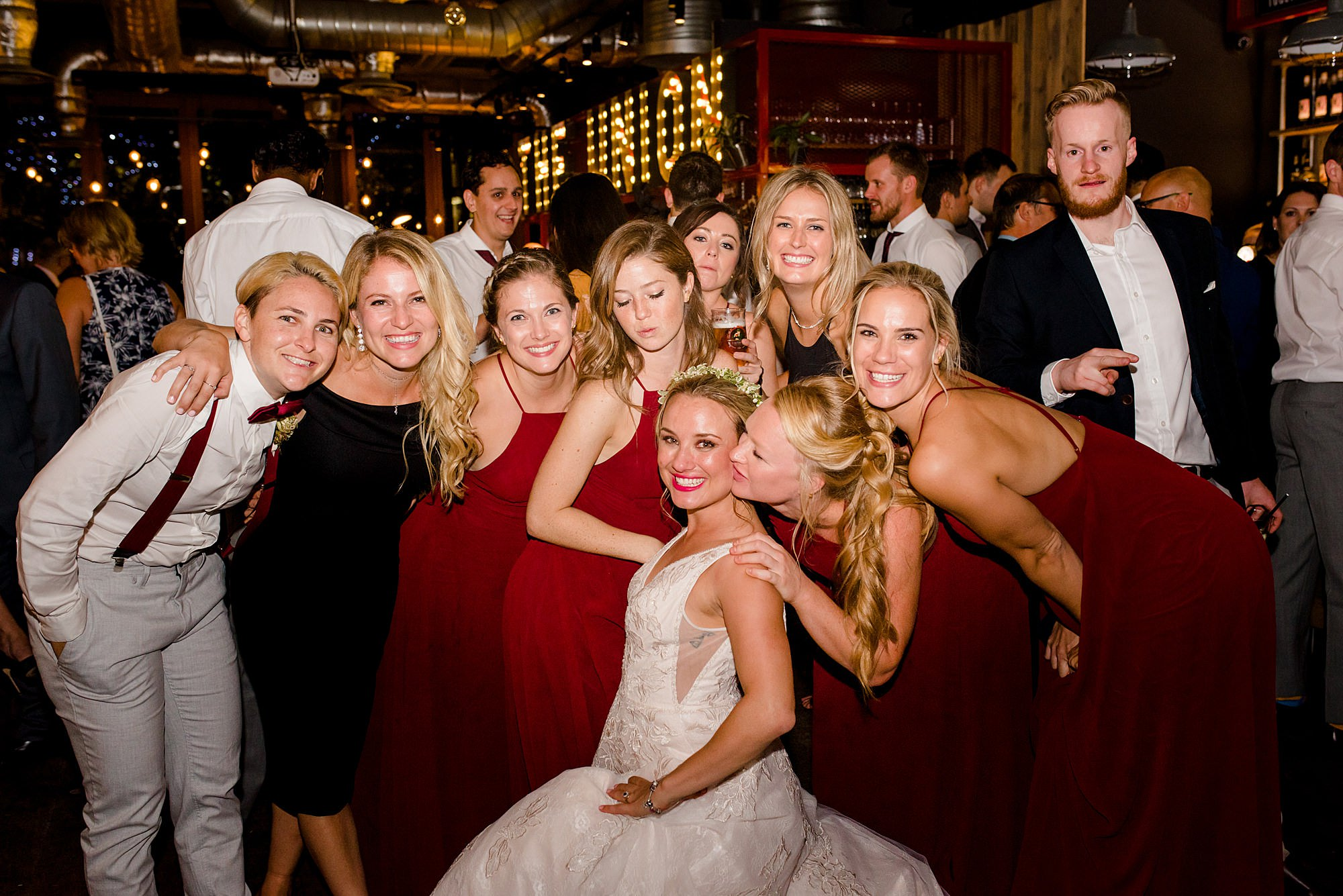 bride and friends on the dance floor at the union pub wedding