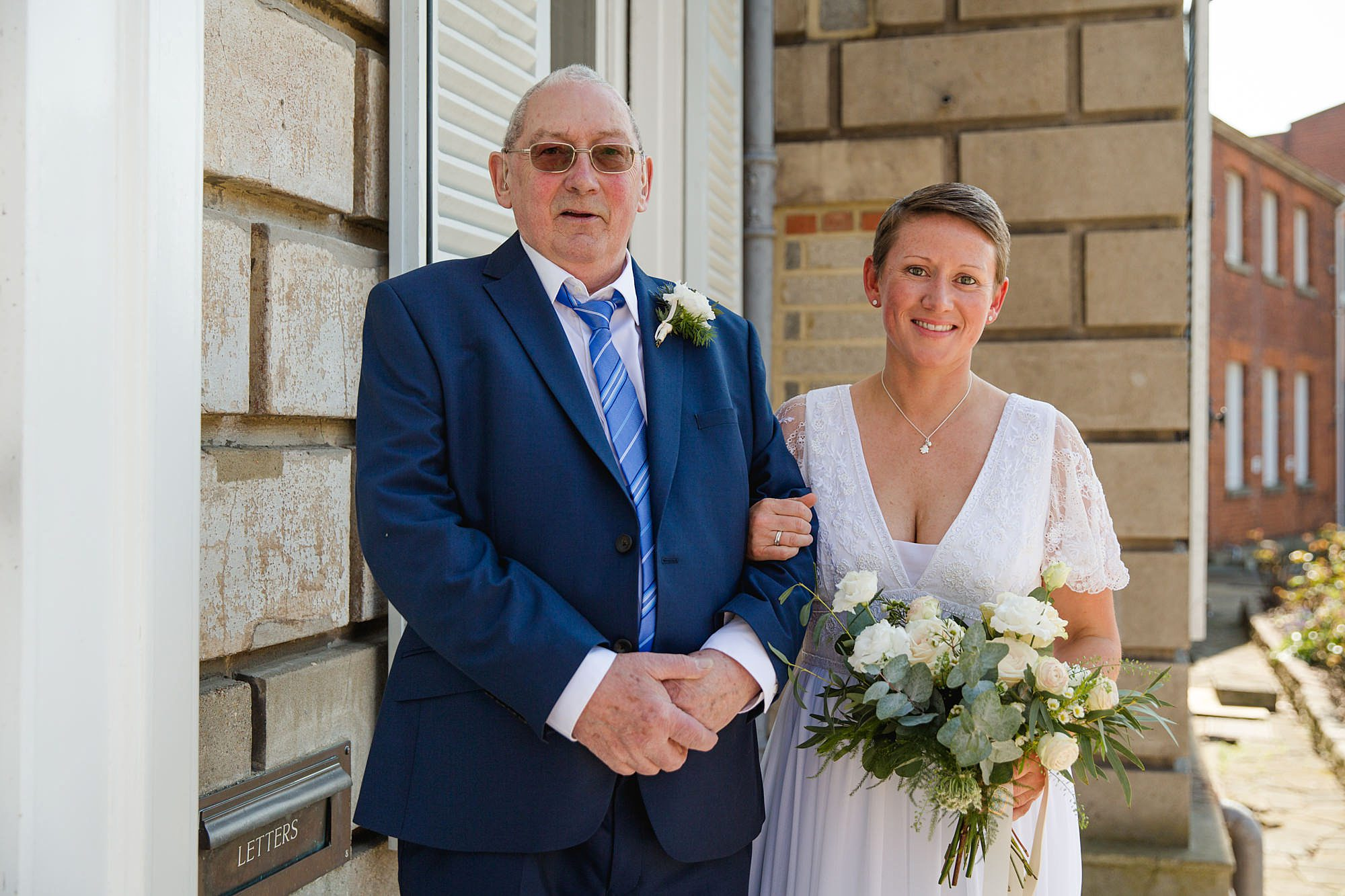 bride and her father ahead of wedding at york house