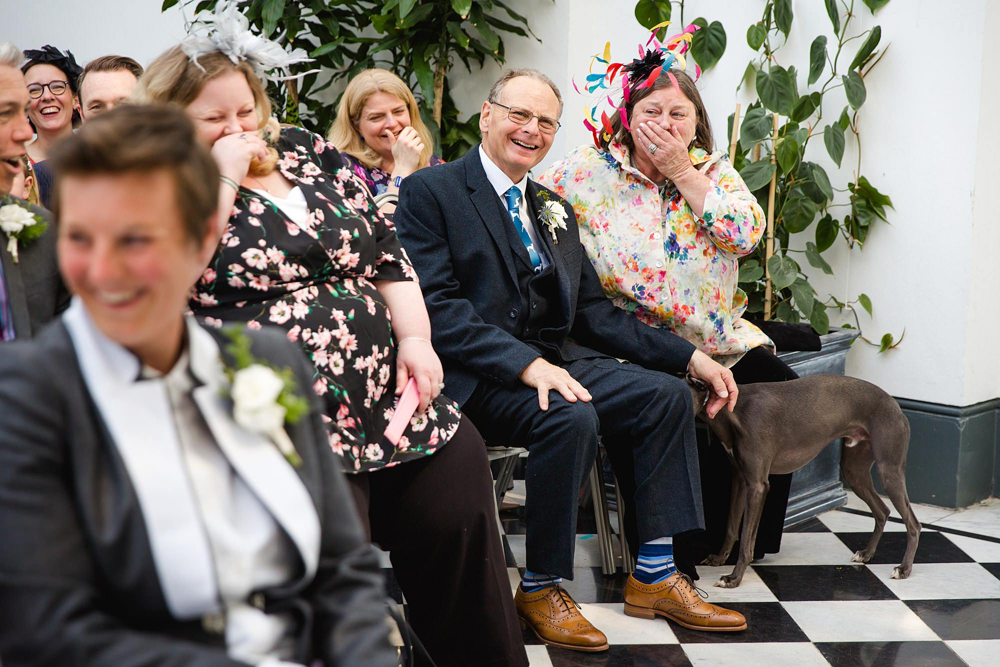 guest laughs as dog barks at york house wedding